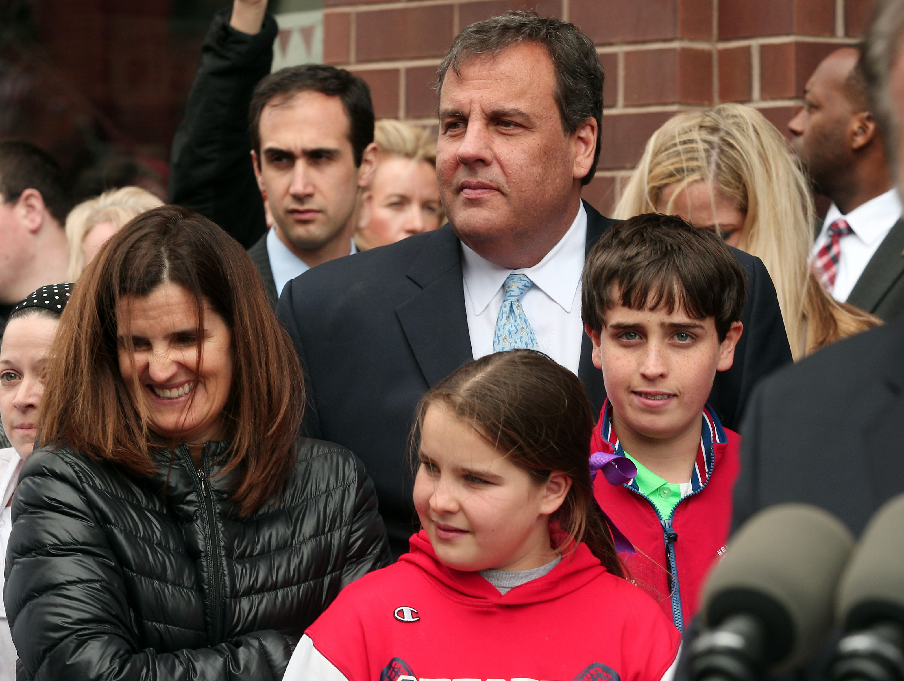 Governor Chris Christie and family attended the Grand Opening of the newest Carlo's Bakery in Morristown. The Cake Boss, Buddy Valastro was on hand for the opening. March 20, 2014, Morristown, NJ. Bob Karp/staff photographer