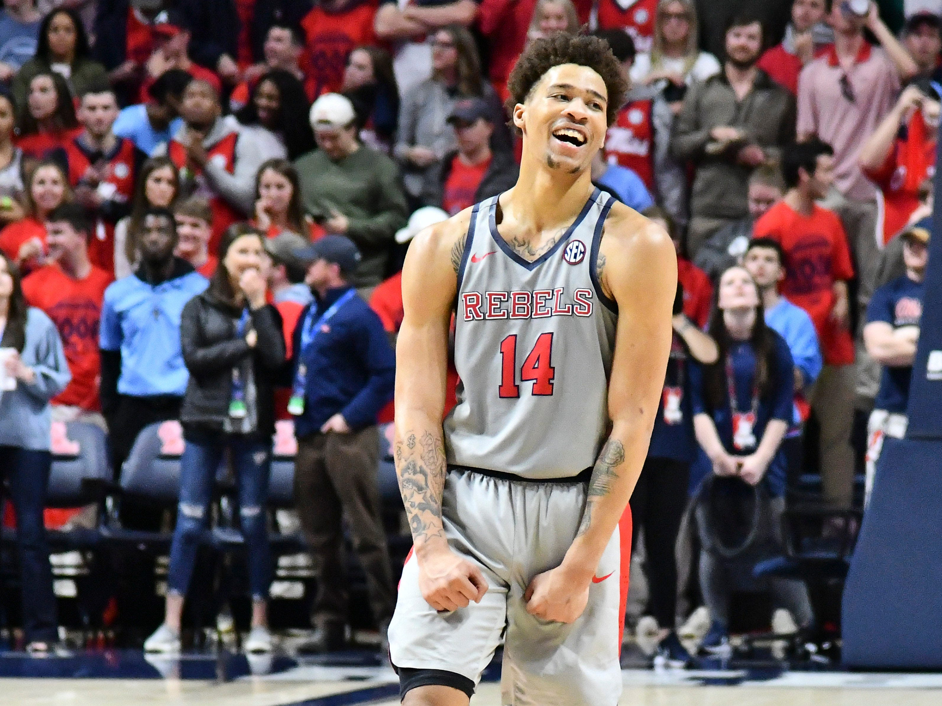 Jan 9, 2019; Oxford, MS, USA; Mississippi Rebels forward KJ Buffen (14) reacts during the second half of the game against the Auburn Tigers at The Pavilion at Ole Miss. Mandatory Credit: Matt Bush-USA TODAY Sports