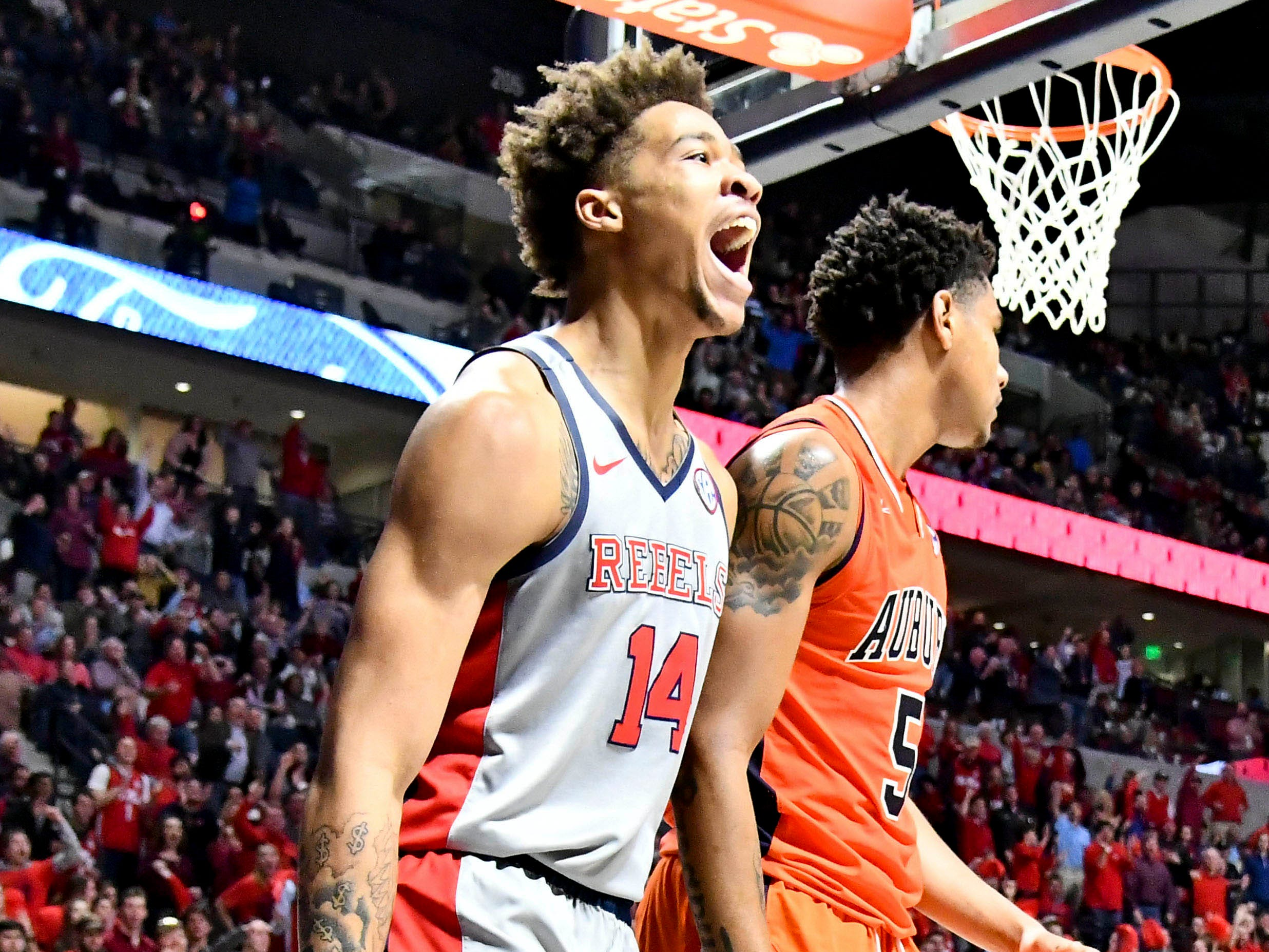 Jan 9, 2019; Oxford, MS, USA; Mississippi Rebels forward KJ Buffen (14) reacts after a play against the Auburn Tigers during the second half at The Pavilion at Ole Miss. Mandatory Credit: Matt Bush-USA TODAY Sports
