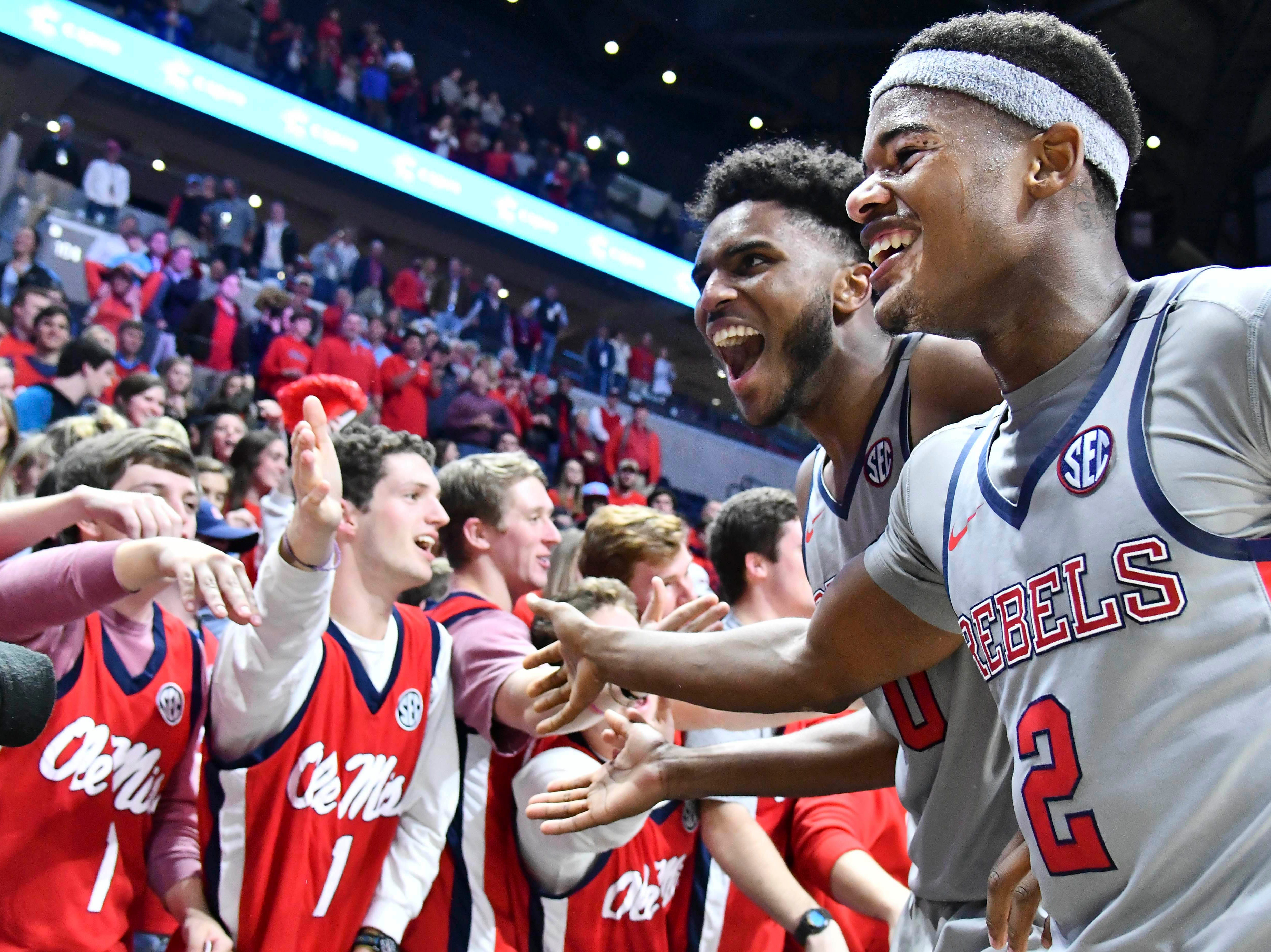 Jan 9, 2019; Oxford, MS, USA; Mississippi Rebels guard Blake Hinson (0) and guard Devontae Shuler (2) react after the game against the Auburn Tigers at The Pavilion at Ole Miss. Mandatory Credit: Matt Bush-USA TODAY Sports