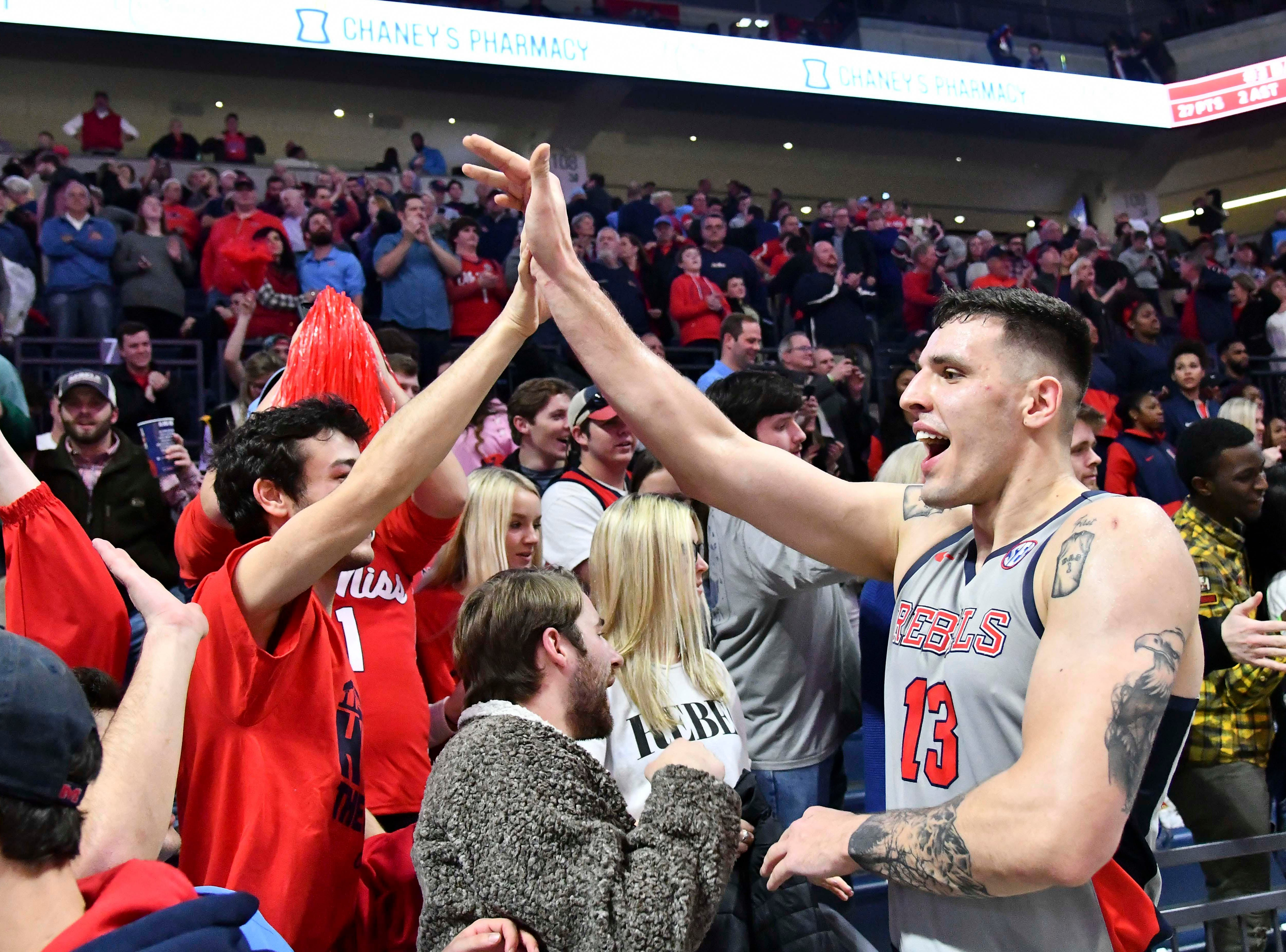 Jan 9, 2019; Oxford, MS, USA; Mississippi Rebels center Dominik Olejniczak (13) reacts with fans after the game against the Auburn Tigers at The Pavilion at Ole Miss. Mandatory Credit: Matt Bush-USA TODAY Sports