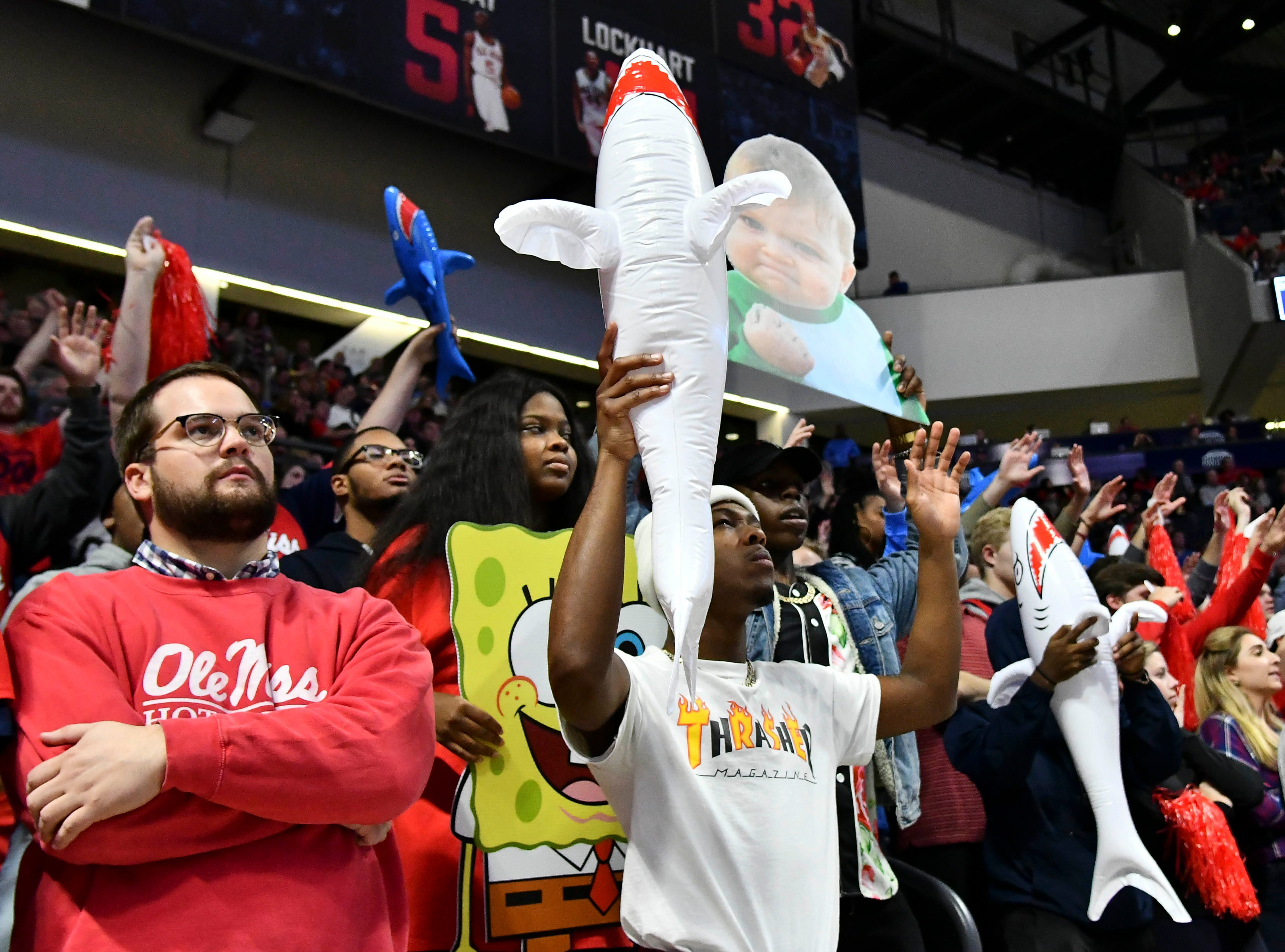 Jan 9, 2019; Oxford, MS, USA; Mississippi Rebels fans cheer during the first quarter of the game against the Auburn Tigers at The Pavilion at Ole Miss. Mandatory Credit: Matt Bush-USA TODAY Sports
