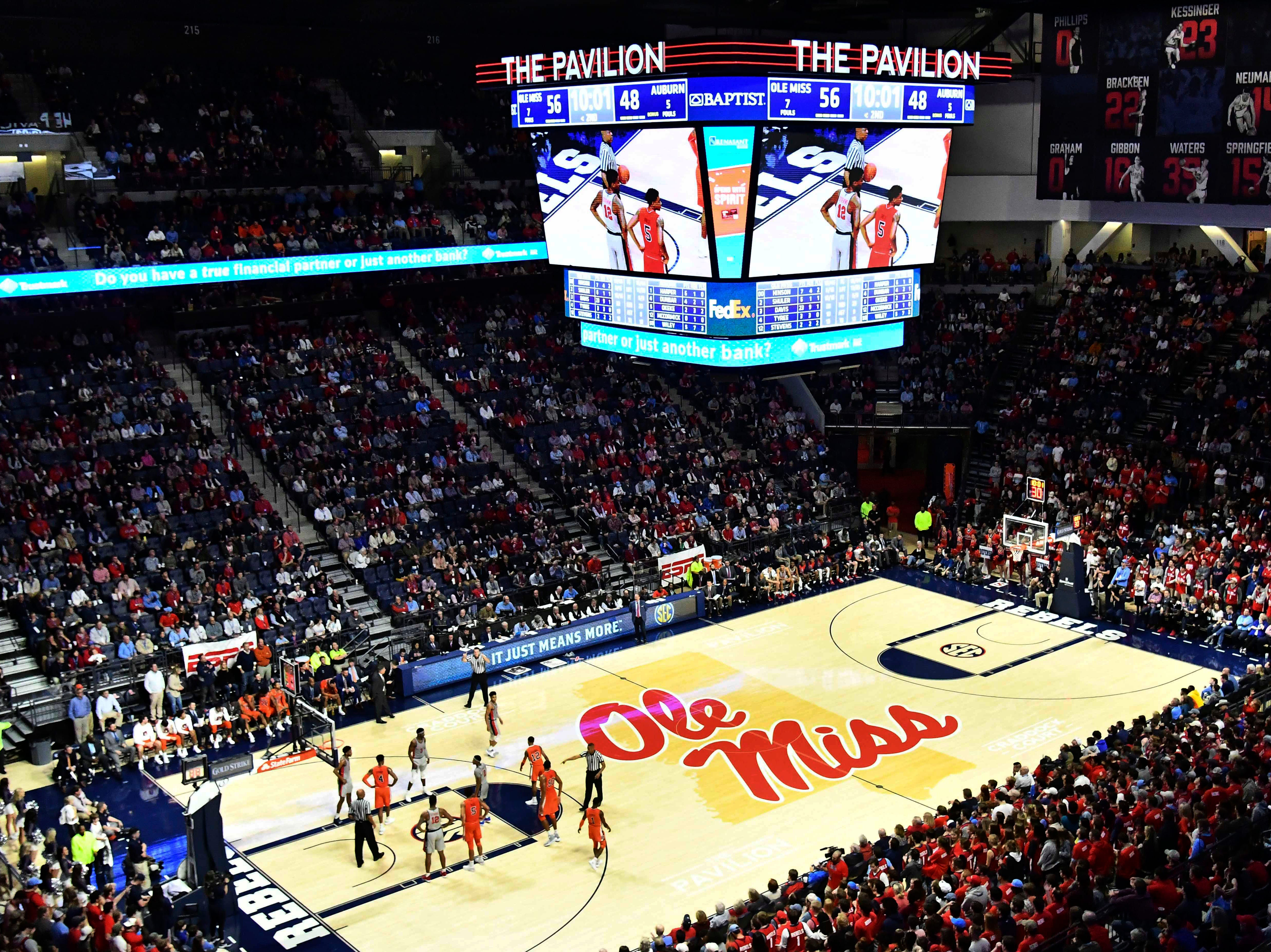 Jan 9, 2019; Oxford, MS, USA; A general overview of the game between the Mississippi Rebels and the Auburn Tigers at The Pavilion at Ole Miss. Mandatory Credit: Matt Bush-USA TODAY Sports