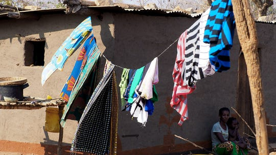 Clean laundry hangs to dry in Kaole Village, Zambia.