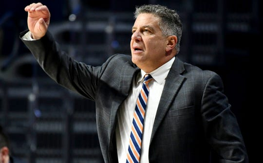 Jan 9, 2019; Oxford, MS, USA; Auburn Tigers head coach Bruce Pearl signals against the Mississippi Rebels during the second half at The Pavilion at Ole Miss. Mandatory Credit: Matt Bush-USA TODAY Sports