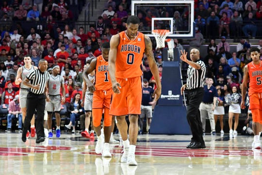 Auburn Tigers forward Horace Spencer (0) walks down the court after Auburn was called for a foul against Ole Miss during the second half at The Pavilion on Jan. 9, 2019, in Oxford, Miss.