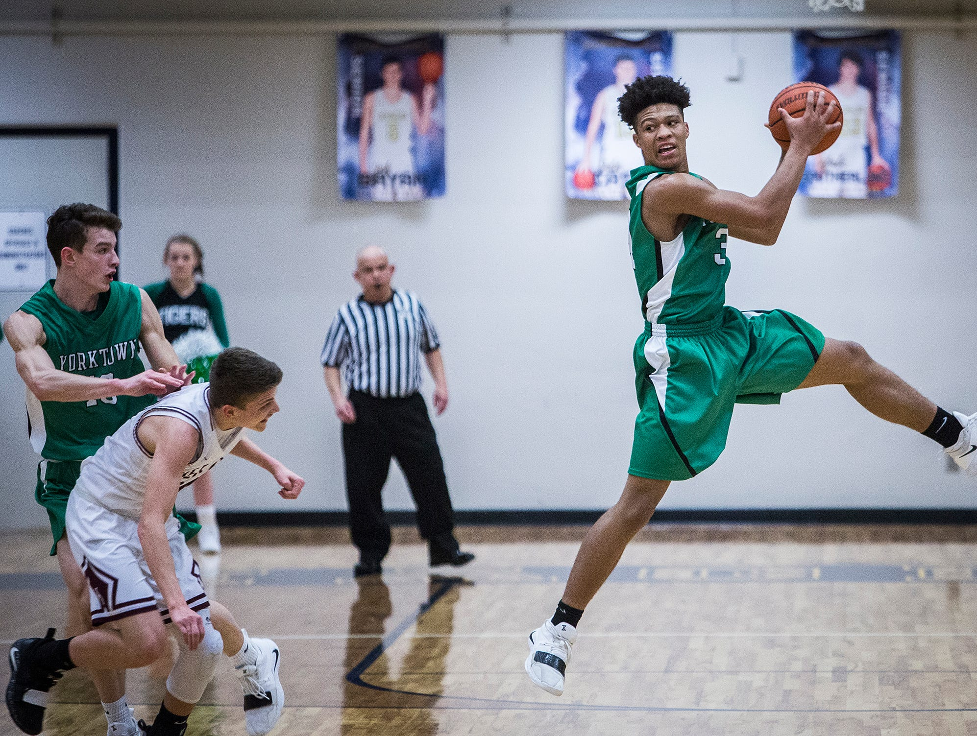 Wes-Del faces off against Yorktown during the Delaware County Basketball Tournament at Delta High School Tuesday, Jan. 8, 2019.
