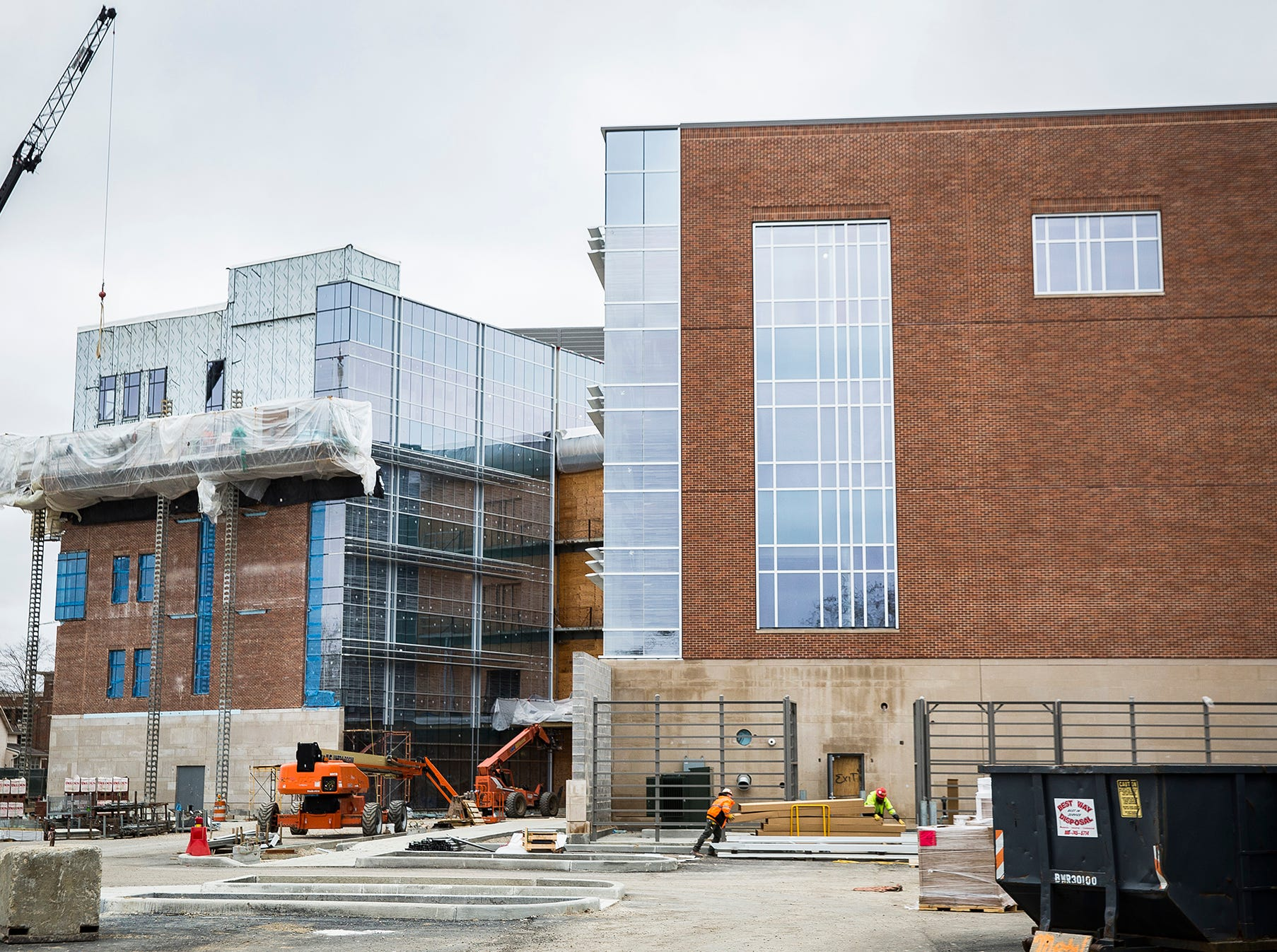 Construction continues on the Ball State College of Health building on Riverside Avenue Thursday morning.