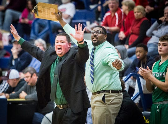 Eric Branz, shown here shouting out instructions during a Delaware County tournament loss to Wes-Del, came to Yorktown after a three-year tenure at South Central (Union Mills).