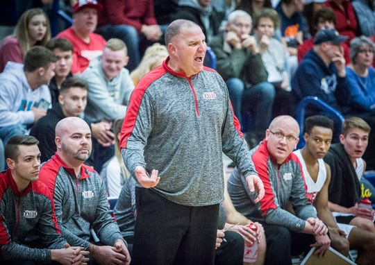 FILE -- Wapahani's Matt Luce coaches against Delta during the Delaware County Basketball Tournament at Delta High School Tuesday, Jan. 8, 2019. Luce enters his 13th year as Wapahani's head coach and 18th year overall coaching this season.