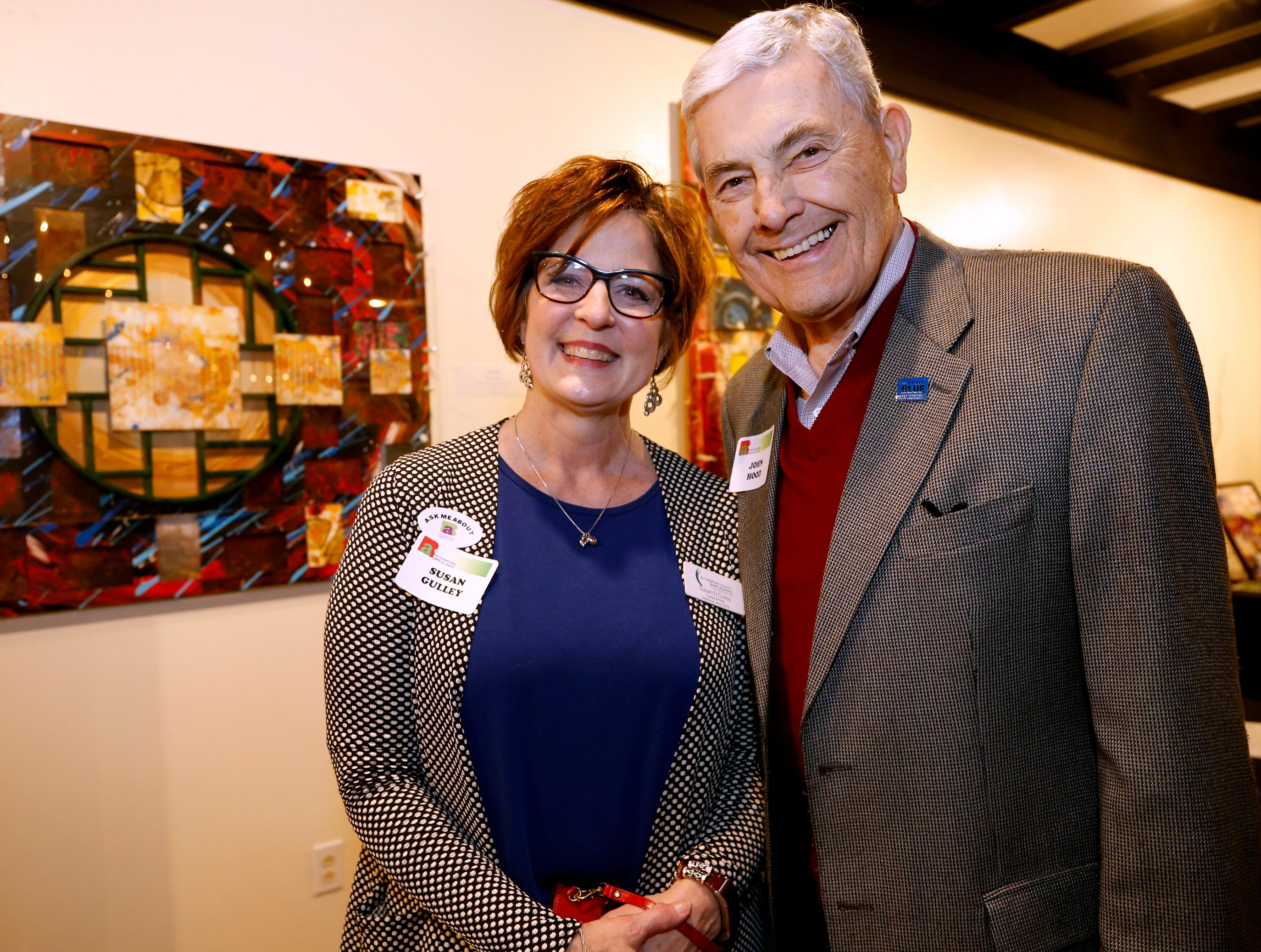 Susan Gulley, left and John Hood at an arts reception for Rutherford Arts Alliance held at the Center for the Arts on Wednesday Jan. 9, 2019.