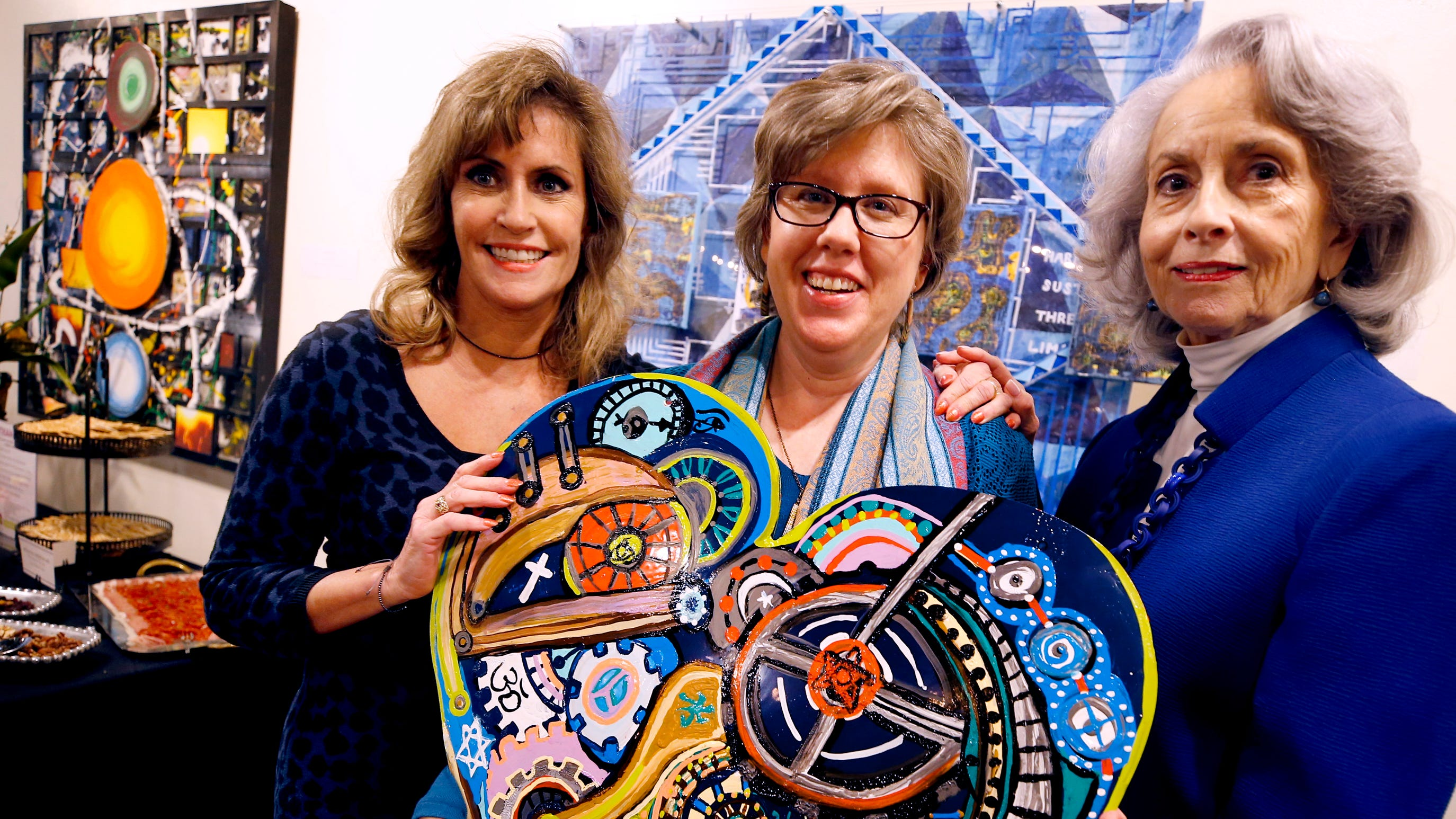 Heading up the formation of the Rutherford Arts Alliance are, from left, former Painter Laureate Ginny Togrye, current Poet Laureate Kory Wells, and Andrea Loughry, vice-chair of the Tennessee Arts Commission.
