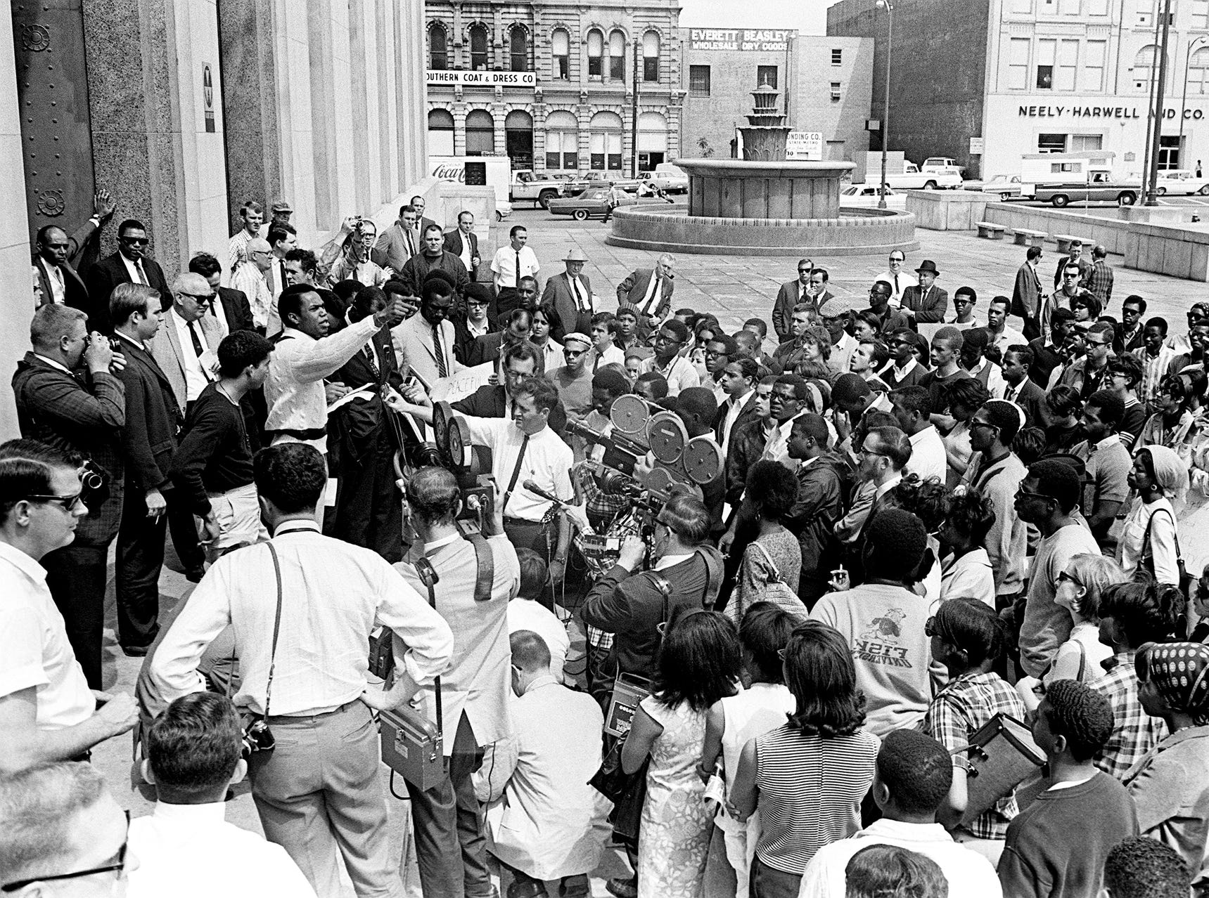 After marching peacefully from Fisk University, more than 200 demonstrators gather April 14, 1967, at the Metro Courthouse. There the speakers led the crowd in cheers for black power and condemned police actions in the recent rioting.
