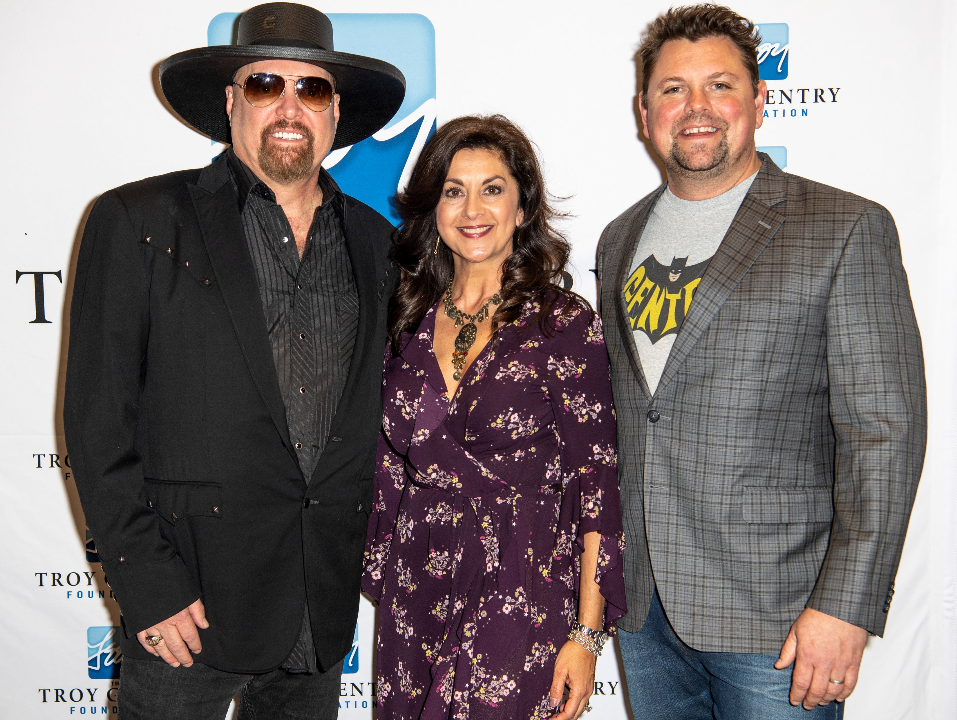 Eddie Montgomery, Angie Gentry, and Storme Warren on the red carpet before the C'Ya On The Flipside Benefit Concert at the Grand Ole Opry House in Nashville, Tenn., Wednesday, Jan. 9, 2019.