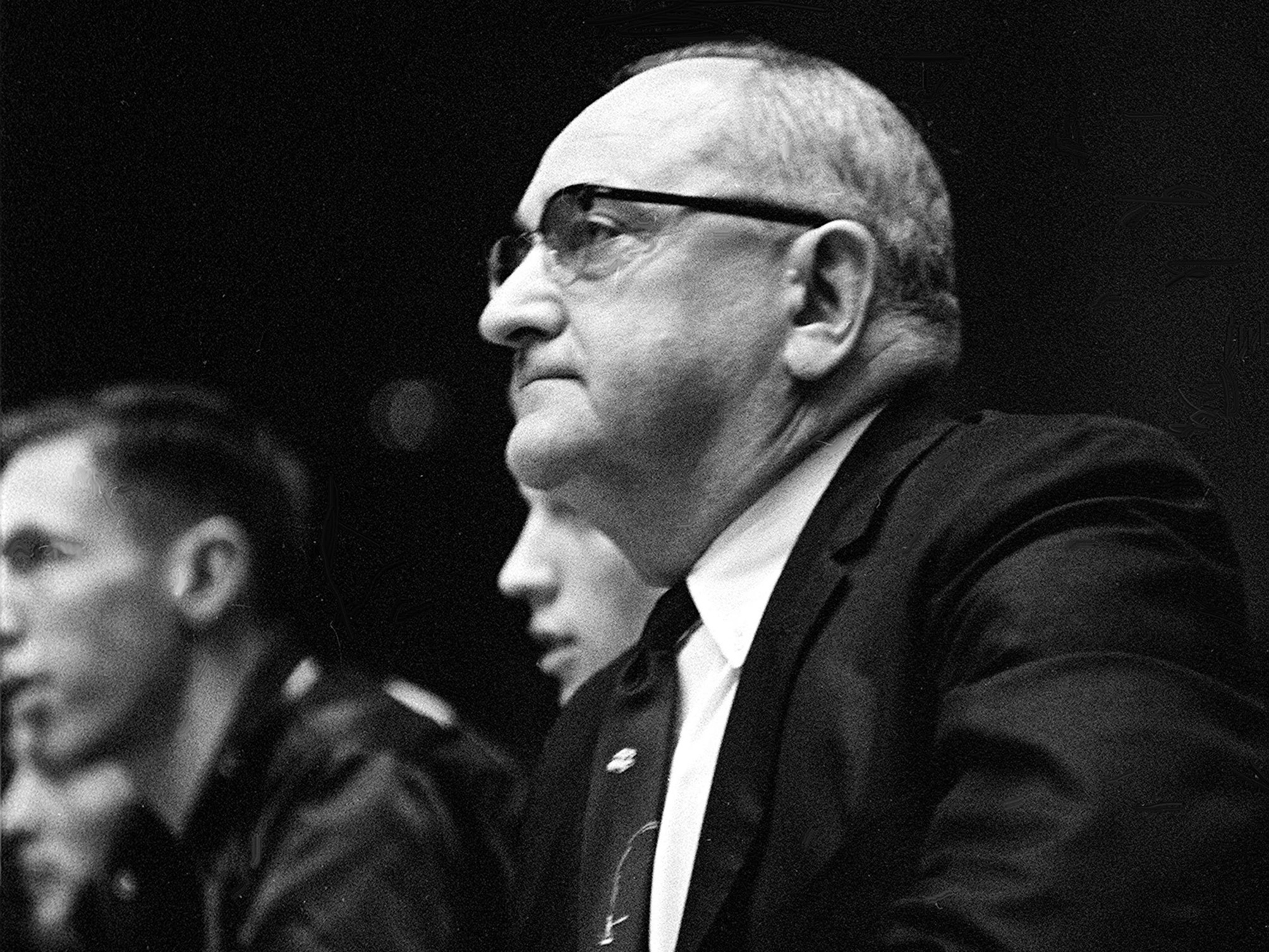 Kentucky head coach Adolph Rupp keeps an eye on his team against Vanderbilt Jan. 9, 1961. The Wildcats became the Commodores' 11th straight victim, falling 64-62 before 7,324 fans at Memorial Gym.