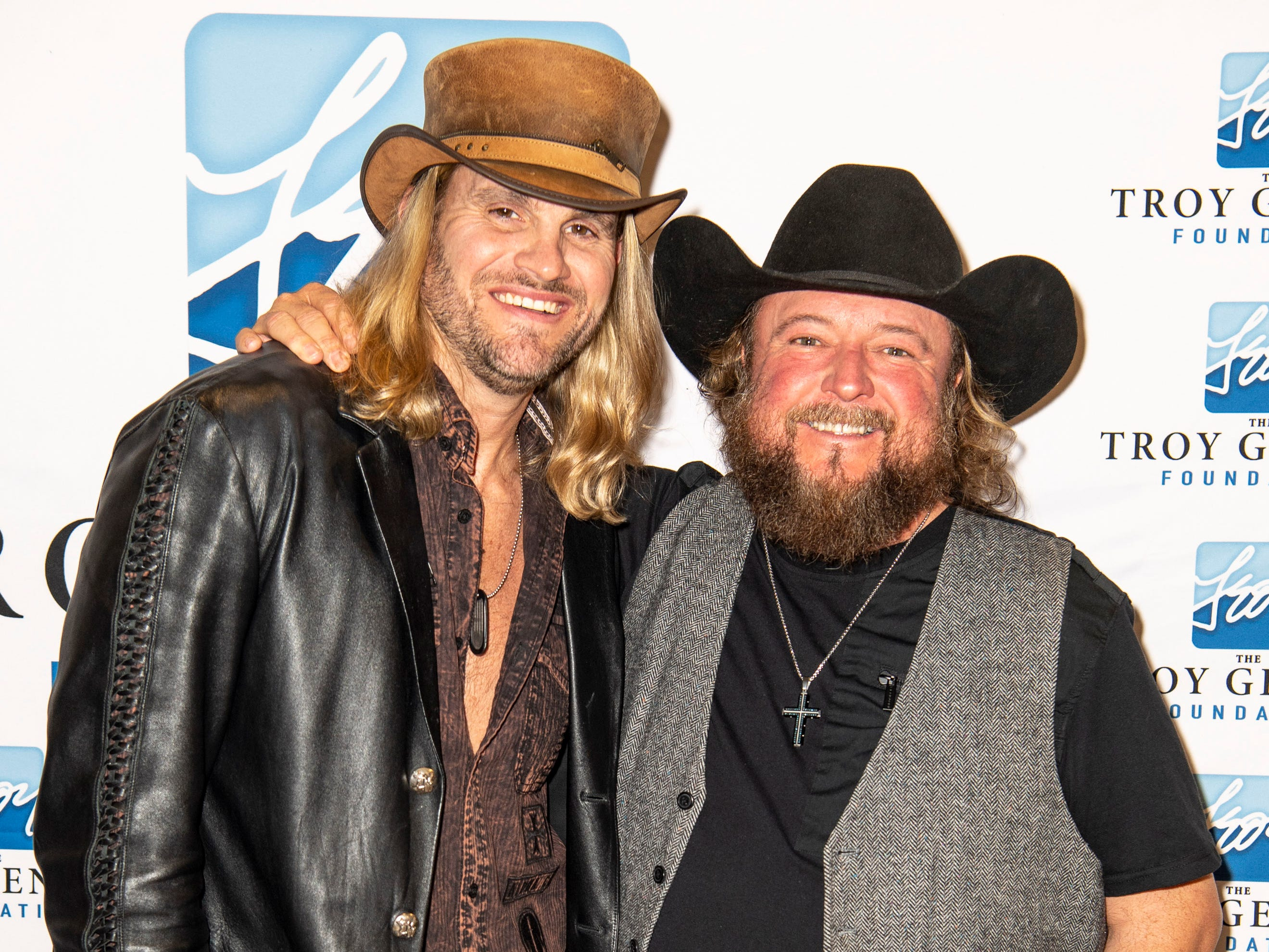 Ira Dean, left, and Colt Ford on the red carpet before the C'Ya On The Flipside Benefit Concert at the Grand Ole Opry House in Nashville, Tenn., Wednesday, Jan. 9, 2019.