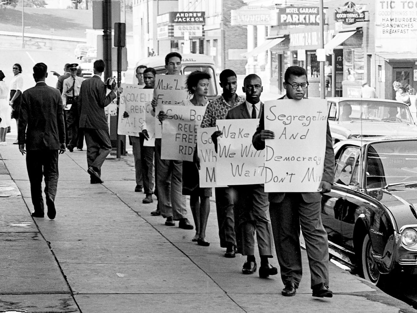 A small group pickets Sept. 25, 1961, in front of the Hermitage Hotel in downtown Nashville, where Tennessee Gov. Buford Ellington was in a conference. The group, with the Rev. James Lawson, front, is seeking reinstatement of the 14 Freedom Riders dismissed from Tennessee A & I State University in June.