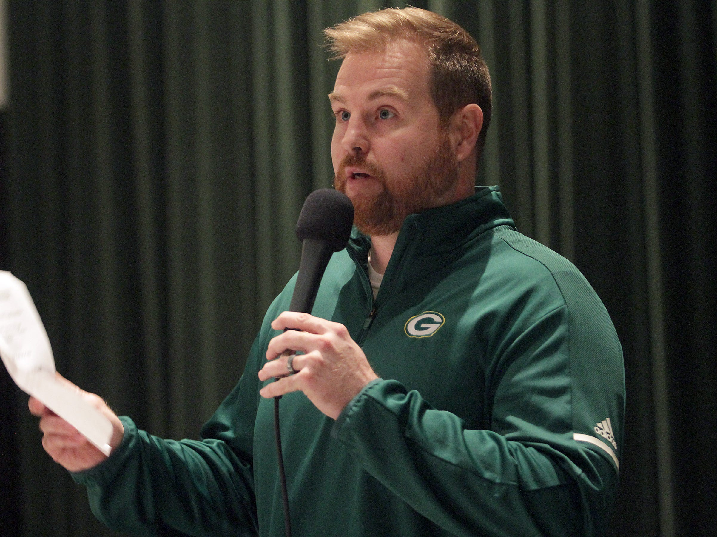 Gallatin High School's new football coach Chad Watson tells the crowd at Gallatin High school what they can expect from a team coached by him on Tuesday, January 8, 2019.