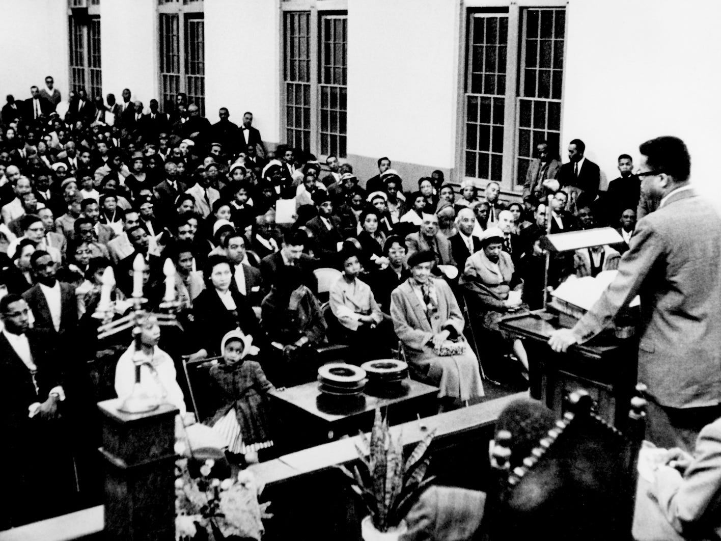 The Rev. James W. Lawson Jr. addresses a crowd at Gordon Memorial Methodist Church on Herman Street in a meeting on the lunch counter sit-ins March 7, 1960. Lawson, who studied Gandhi's techniques in Nagpur, India, conducted workshops on nonviolent strategy to aid Nashville students in ending segregation at the lunch counters.