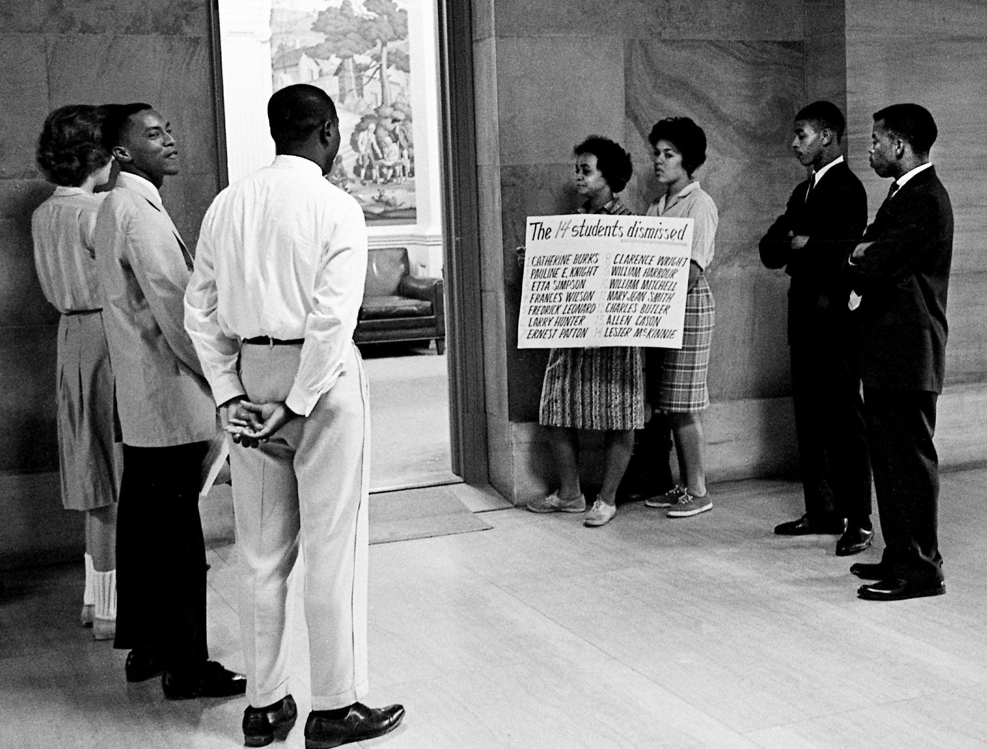 A group of demonstrators tried to see Gov. Buford Ellington on Sept. 8, 1961, to seek reinstatement of 14 Freedom Riders dismissed from Tennessee A & I State University in June after their convictions on breach of peace charges in Jackson, Miss. The group, including John Lewis, right, waited outside the governor's office, but Ellington left his office by a side door and didn't see the protesters.