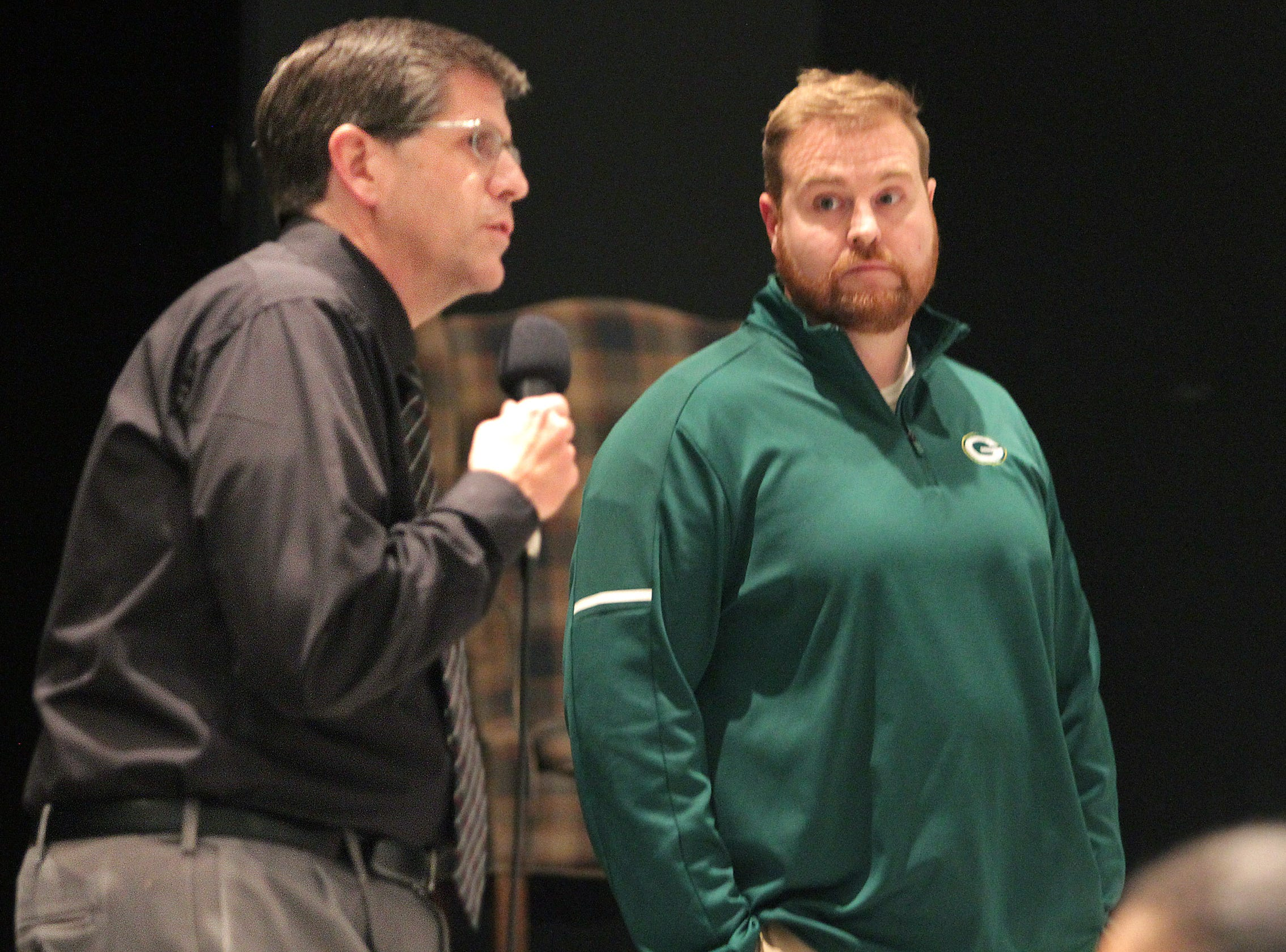 L-R Gallatin High School Principal Ron Becker introduces Chad Watson as the new football coach at a meeting in Gallatin, TN on Tuesday, January 9, 2019.