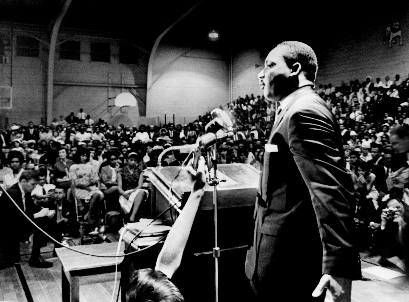 "Dr. Martin Luther King Jr. speaks to an estimated 2,000 people at Fisk University in Nashville on May 3, 1964. King urged the crowd to ""make Nashville an open city."""