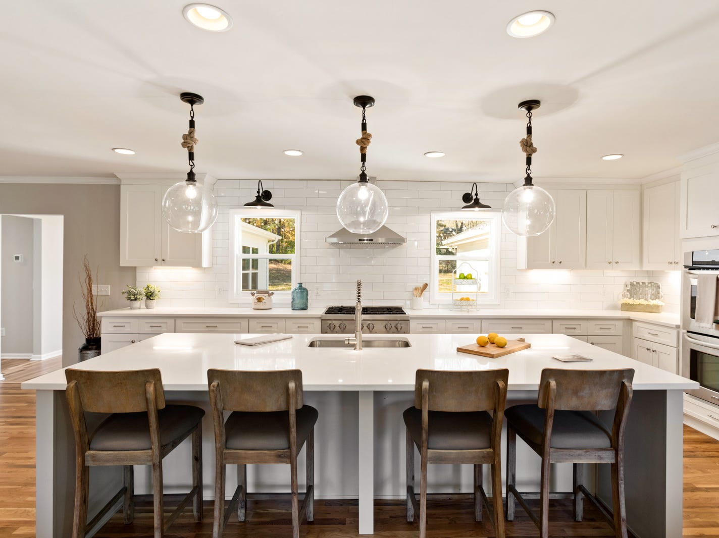 AFTER: This shows 1104 Chelsea Court's newly remodeled open kitchen with large island.
