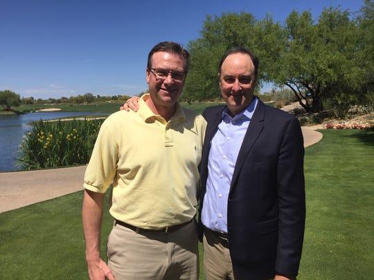 "Former Vanderbilt basketball teammates Adolph ""Chip"" Rupp III, left, and Barry Goheen at the 2017 Final Four in Glendale, Ariz."