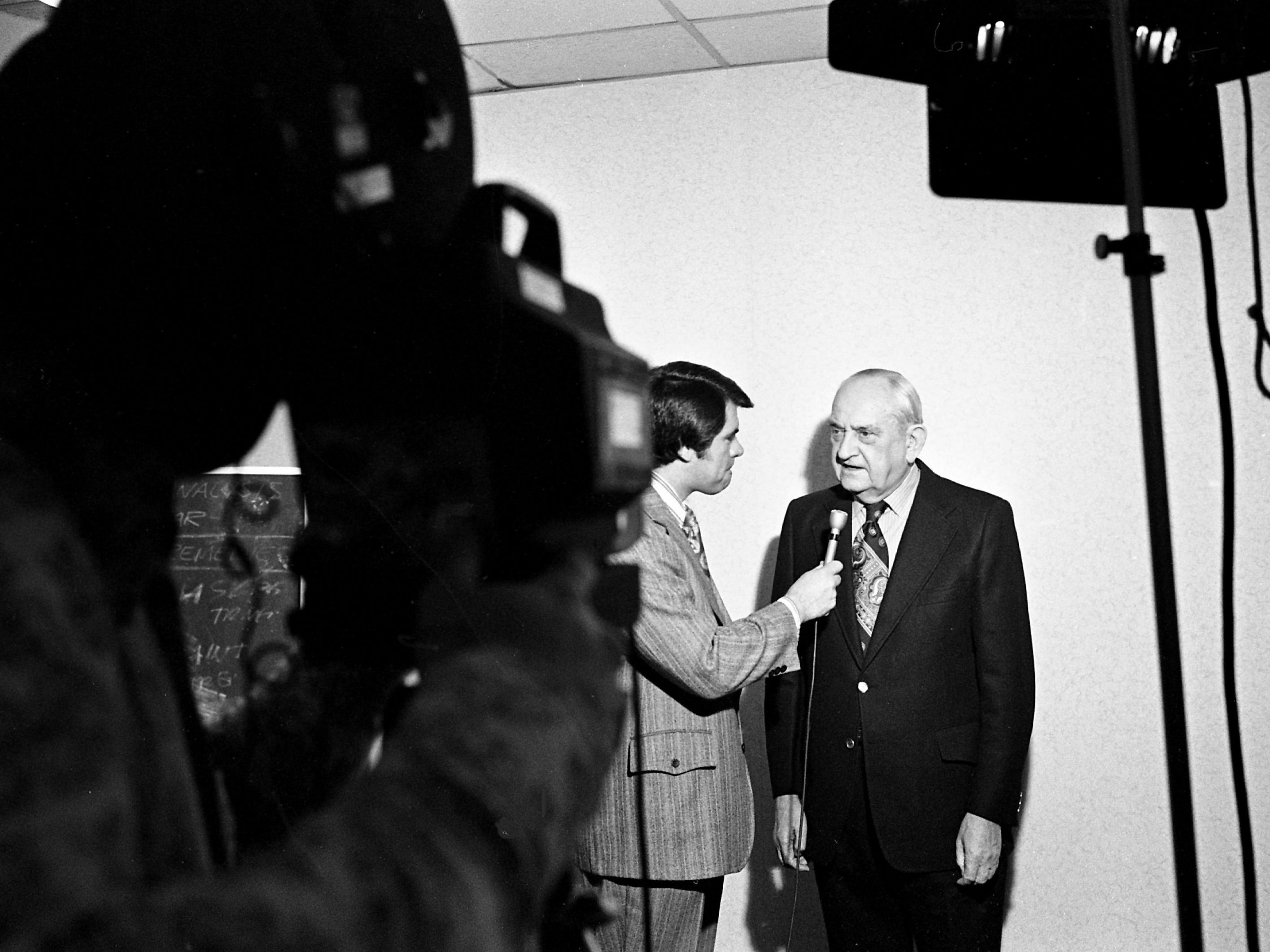 Former Kentucky Coach Adolph Rupp, right, gets interview by Hope Hines of Channel 5 Jan. 22, 1973, while he was in town to be honored by the Vanderbilt Quarterback Club.