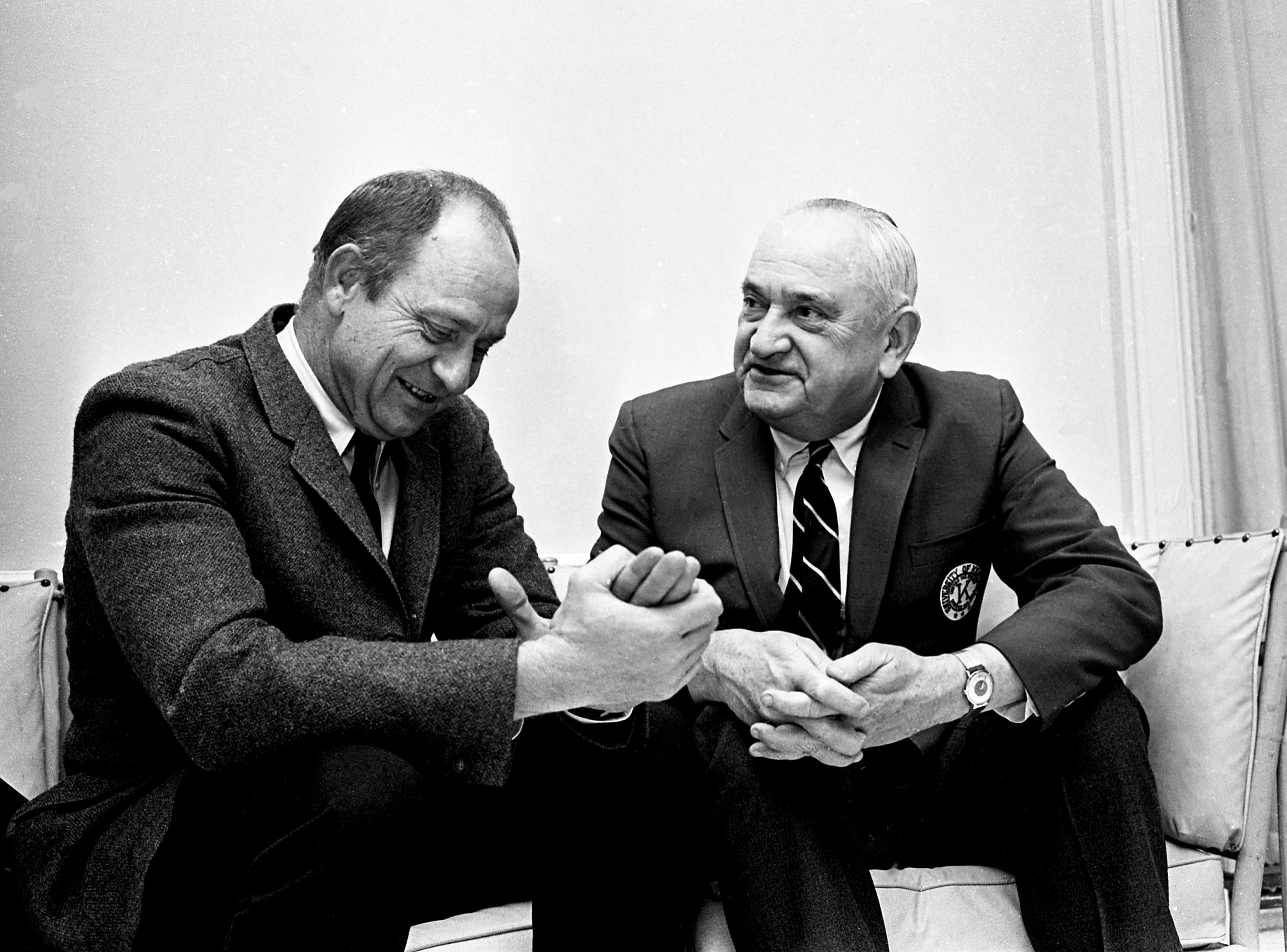 "Former Vanderbilt basketball star Dr. A. Brant ""Pinky"" Lipscomb, left, and Kentucky head coach Adolph Rupp recall the days when they were SEC rivals in the early 1940s Jan. 5, 1968. Lipscomb was named to Rupp's all-time, all-opponent team. Coach Rupp brings his wildcats into Memorial Gym the next night to face Vanderbilt in a battle of nationally-ranked teams."