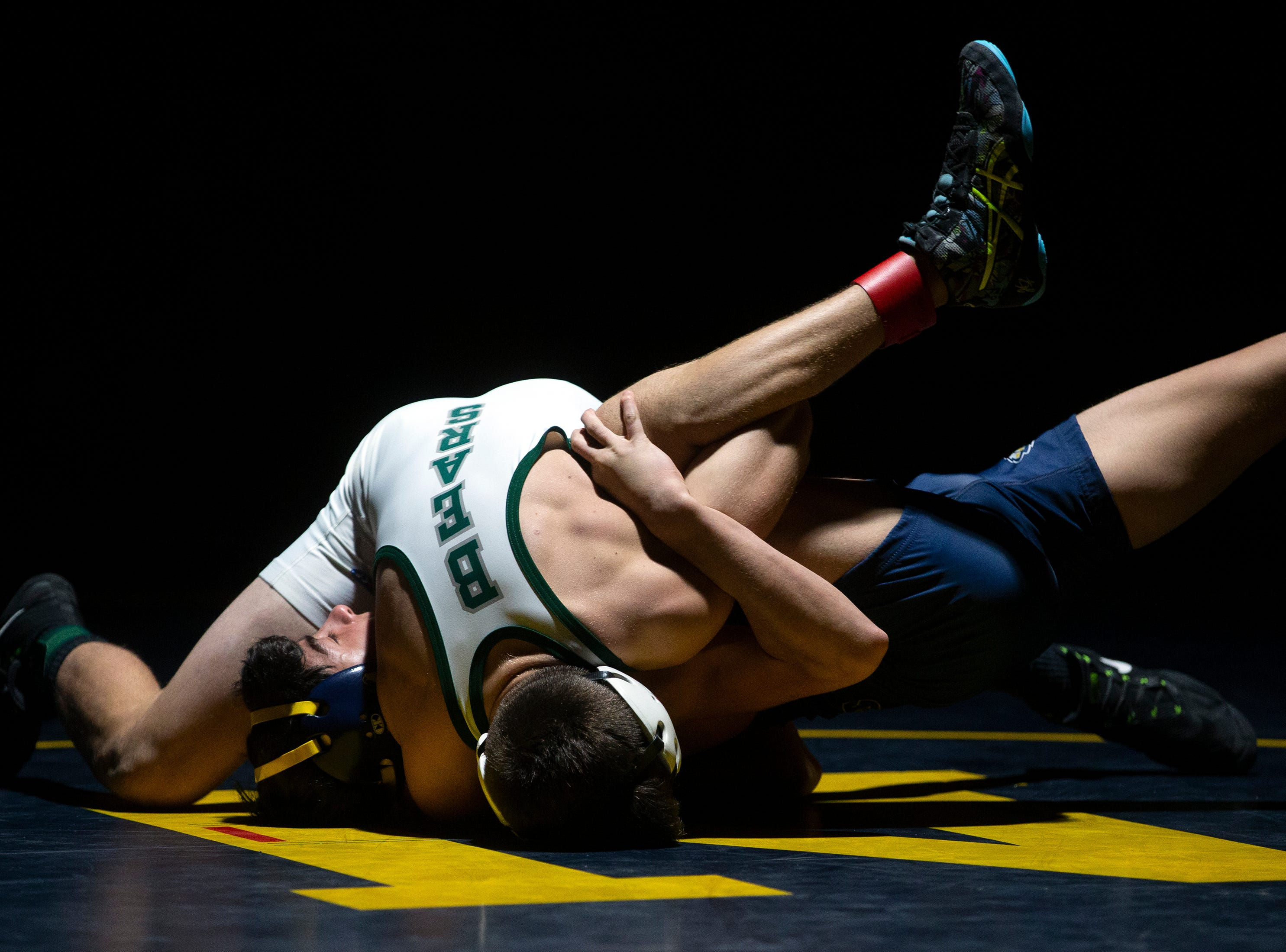 Palmetto Ridge High School's  Brennan Van Hoecke pins Naples' Anthony Delashmet in the 113-pound match up during the Collier County Athletic Conference wrestling championship, Wednesday, Jan. 9, 2018, at Naples High School.