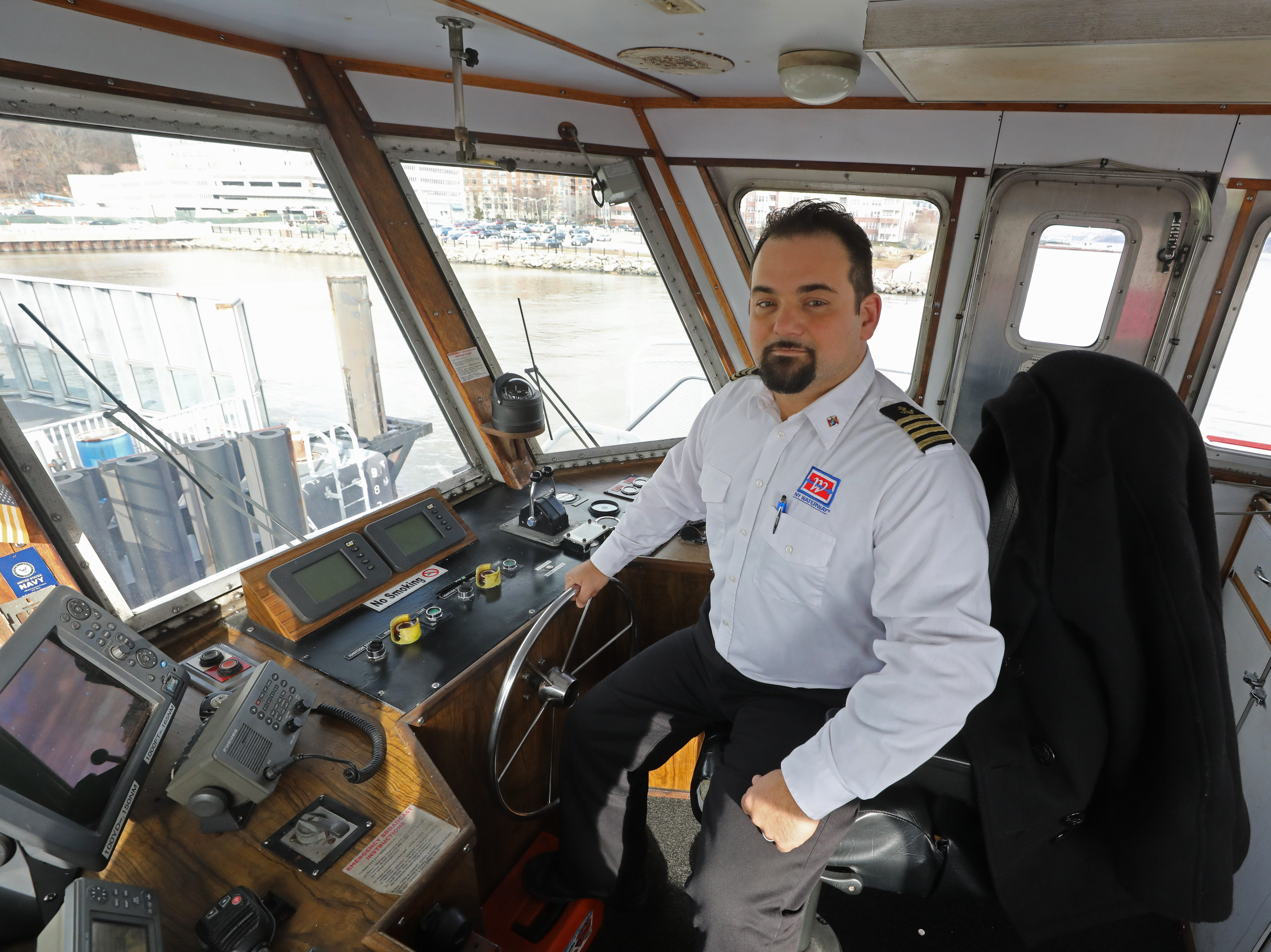 Captain Vincent Lombardi steered his ferry the Thomas Jefferson to the landing site of the downed airliner within three minutes of leaving the pier in Manhattan, saving 54 people. Here he is in the wheelhouse of the Thomas Jefferson on January 9, 2019.