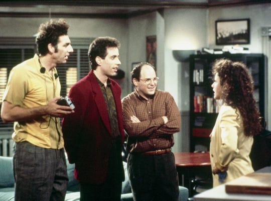 """Pictured: (l-r) Michael Richards as Cosmo Kramer, Jerry Seinfeld as Jerry Seinfeld, Jason Alexander as George Costanza, Julia Louis-Dreyfus as Elaine Benes in the series """"Seinfeld"""""""