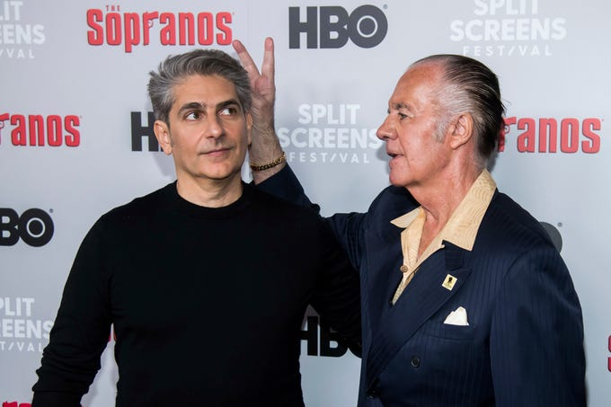 "Michael Imperioli, left, and Tony Sirico attend HBO's ""The Sopranos"" 20th anniversary at the SVA Theatre on Wednesday, Jan. 9, 2019, in New York. (Photo by Charles Sykes/Invision/AP)"