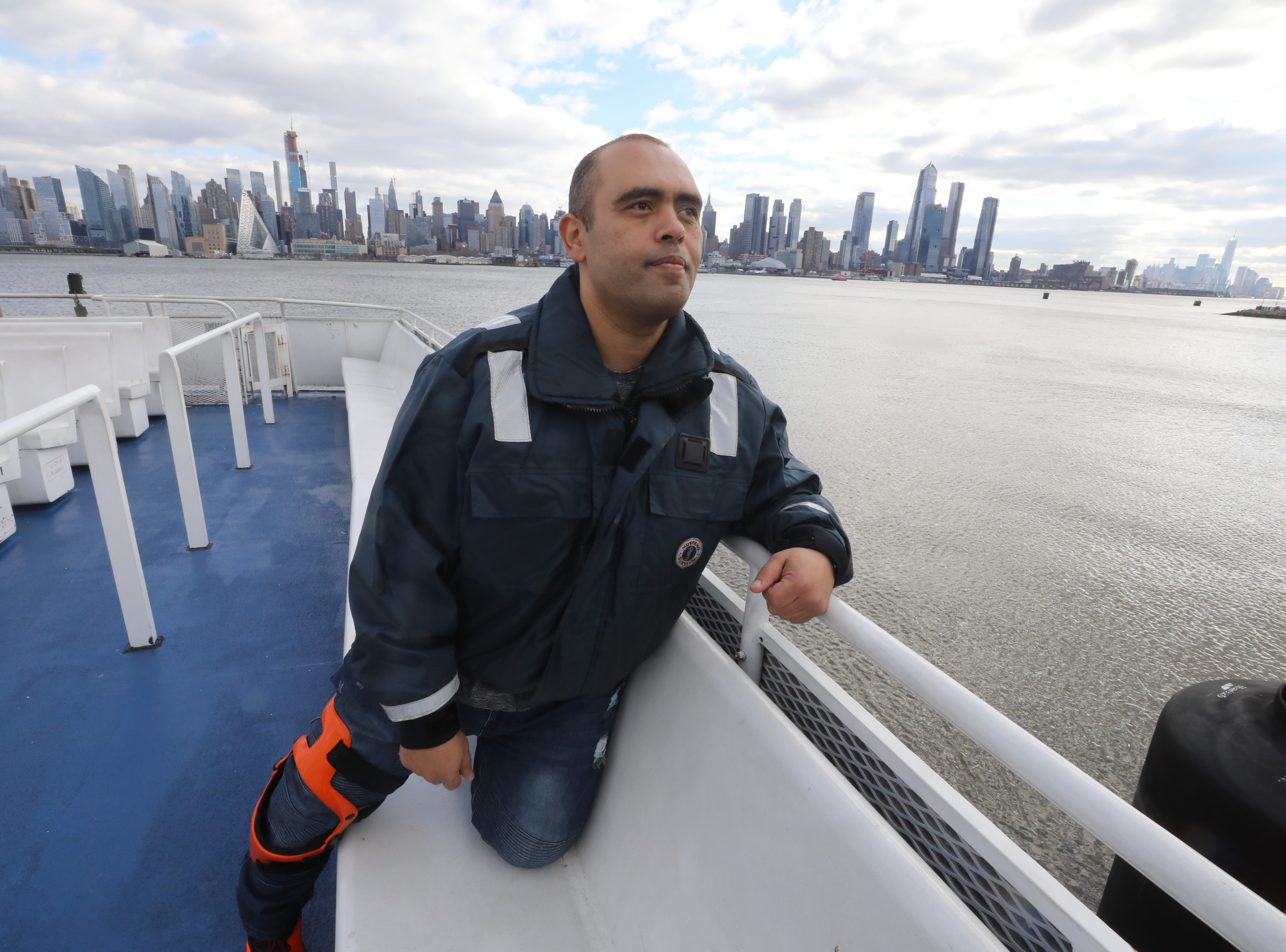 Captain Mohamed Gouda steered the ferry, George Washington to the site of the downed airliner 10 years ago saving some of the passengers. Here is Gouda on the Thomas Jefferson with the Manhattan skyline behind him on January 9, 2019, overlooking the site of the rescue.