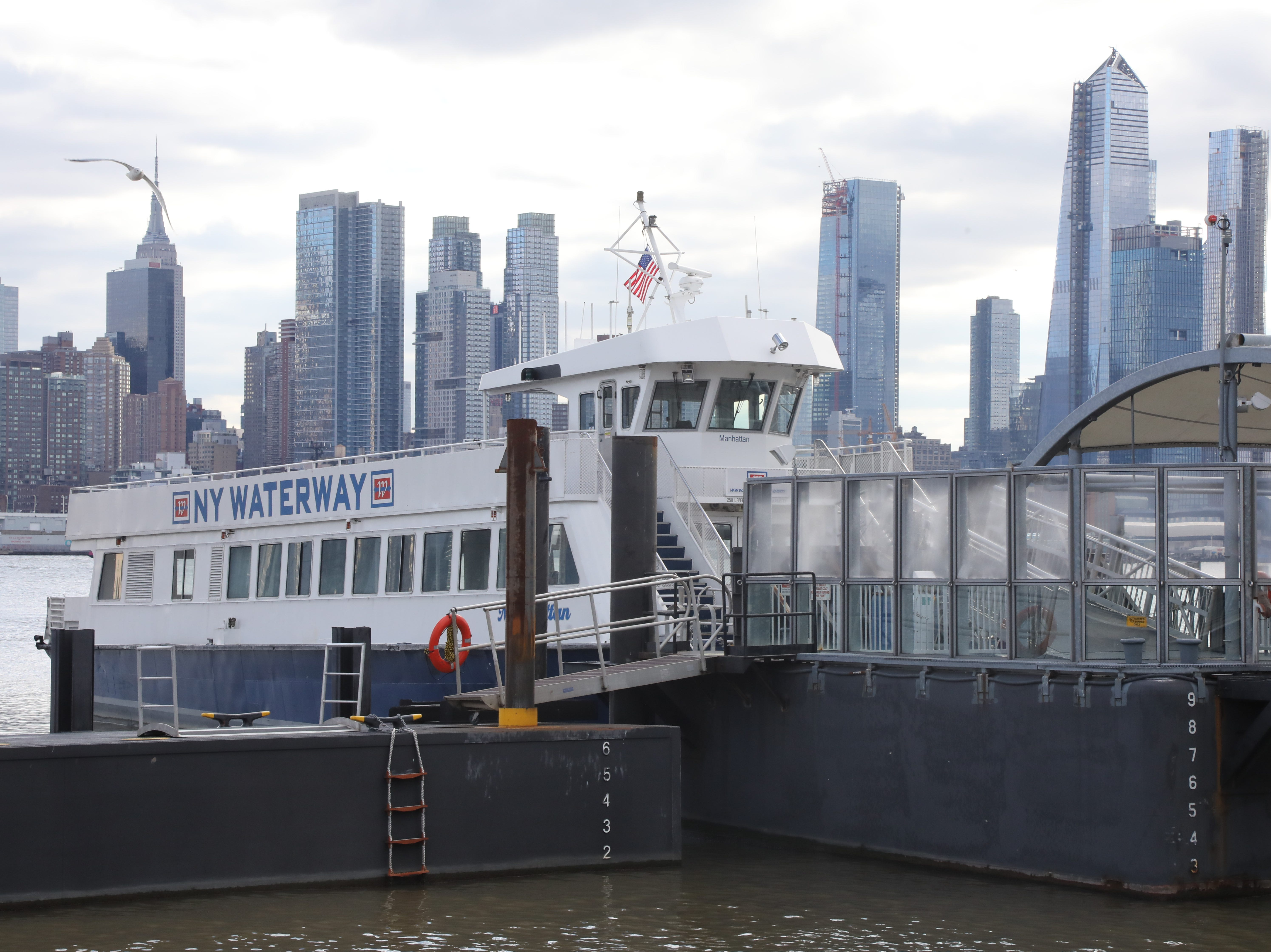 The New York Waterway Ferry, Manhattan waits at the terminal in Weehawken waiting to take passengers to it's name sake on January 9, 2019.
