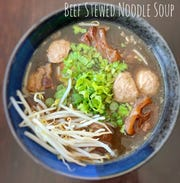 The new restaurant T & Thai offers a beef stewed noodle soup.