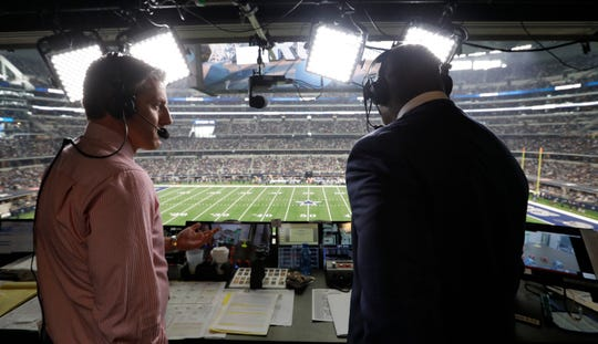 The FOX Sports' broadcast team of Kevin Burkhardt and Charles Davis will call Sunday's Eagles-Saints NFC divisional playoff game in New Orleans. (Photo by Irwin Thompson)