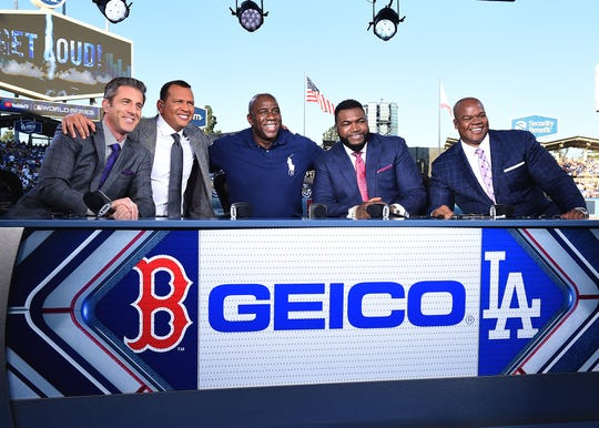 LOS ANGELES - OCTOBER 27:  Kevin Burkhardt, Alex Rodriguez, Magic Johnson, David Ortiz and Frank Thomas at the World Series on Fox - Game 4 - Boston Red Sox at Los Angeles Dodgers at Dodgers Stadium on October 27, 2018 in Los Angeles, California. (Photo by Frank Micelotta/Fox/PictureGroup)