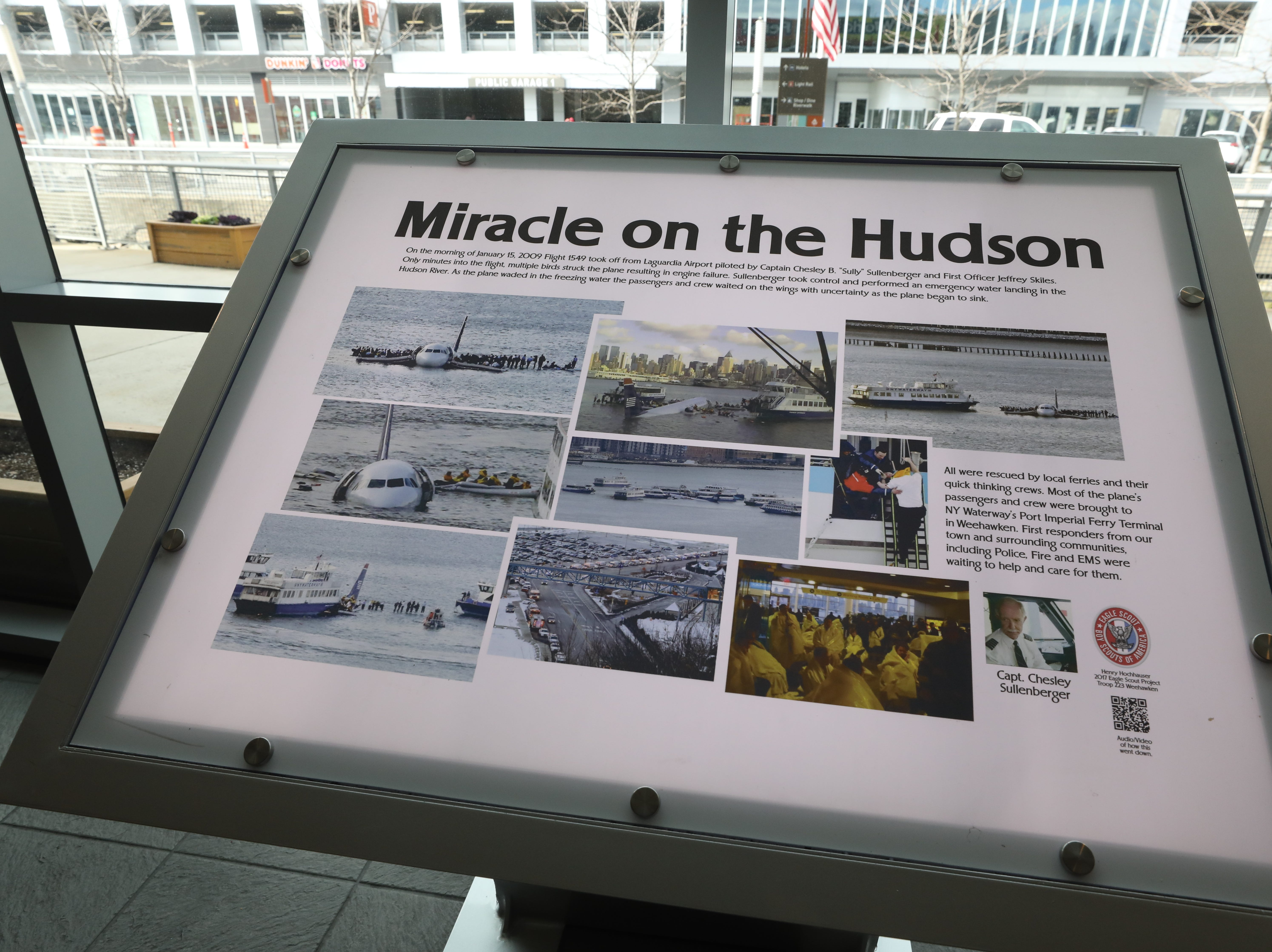 On display at the NY Waterway terminal is this display that shows photos and tells the story of the Miracle on the Hudson.