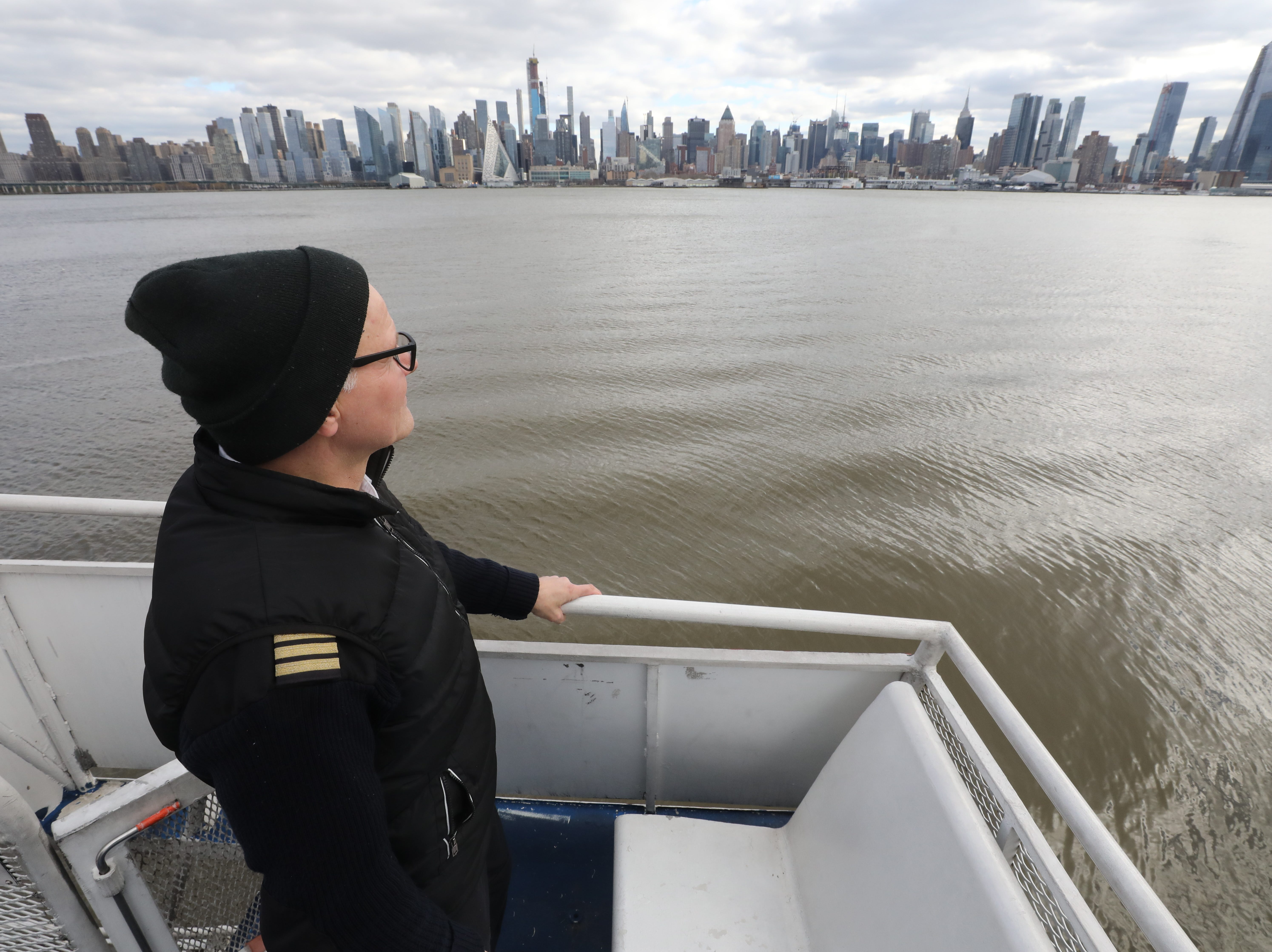 Captain Manny Liba steered the Moira Smith to the site of the downed airliner on the Hudson 10 years ago where he and his crew saved 14 people. Here on January 9, 2019 he overlooks Manhattan and the site of the rescue