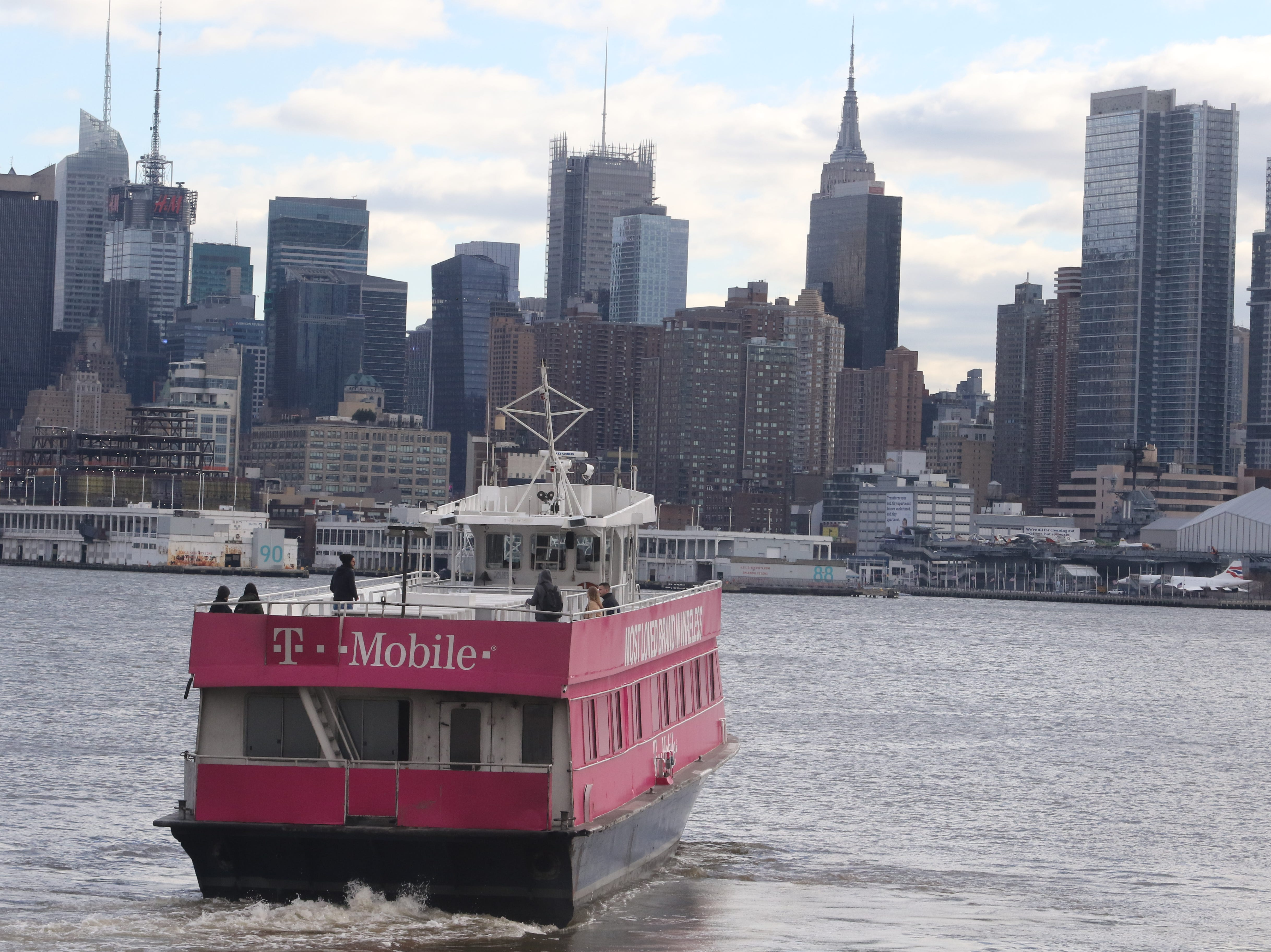 A NY Waterway ferry crosses from Weehawken to Manhattan on January 9, 2019. Seen here is approximately where the US Air airliner touched down in the Hudson 10 years ago. The river's currently floated the plane further down river where the rescue took place.
