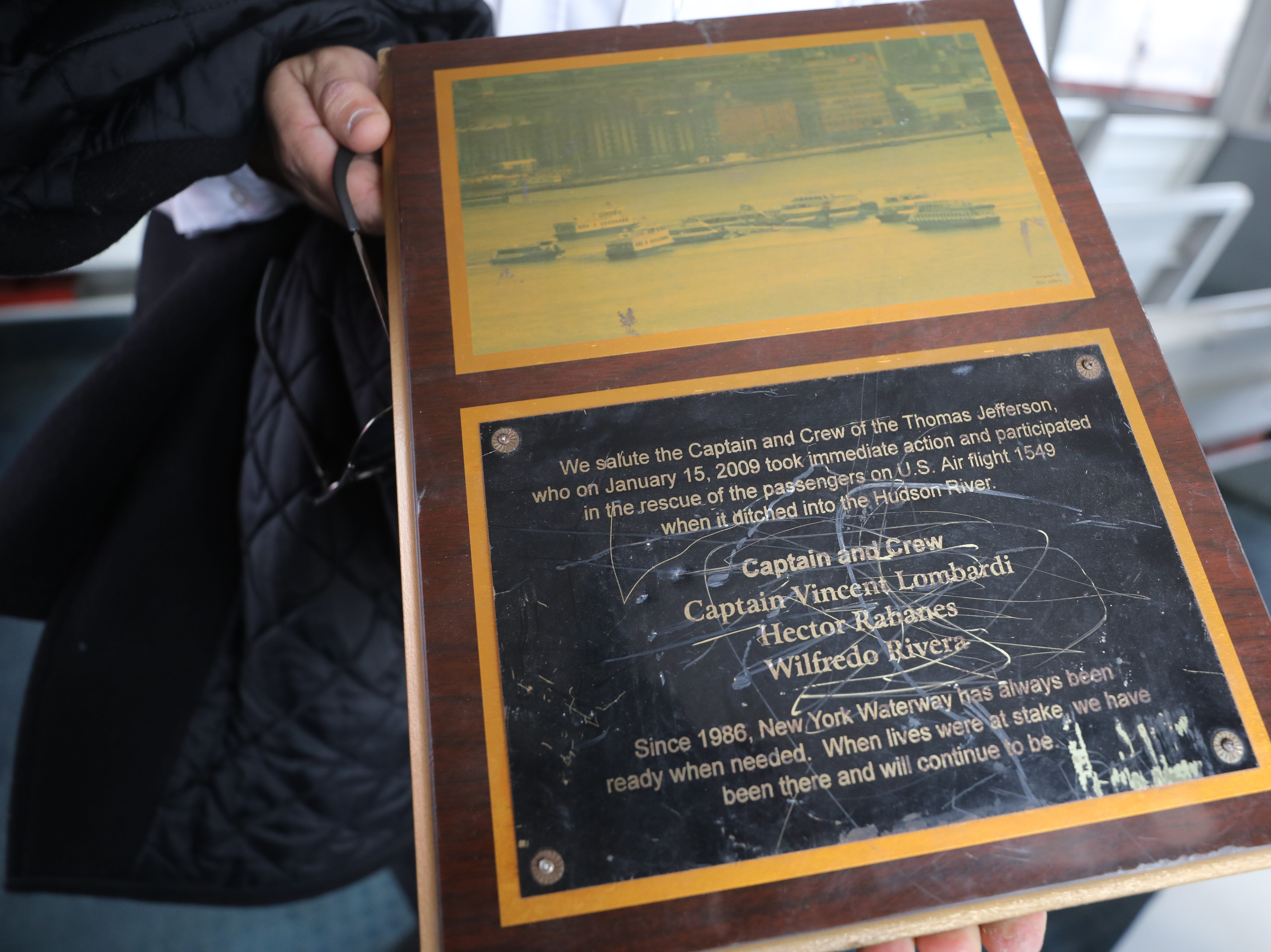 This is a plaque that used to be mounted inside the Thomas Jefferson commemorating the role it played on saving 54 passengers from the waters of the cold Hudson River on January 15, 2009.