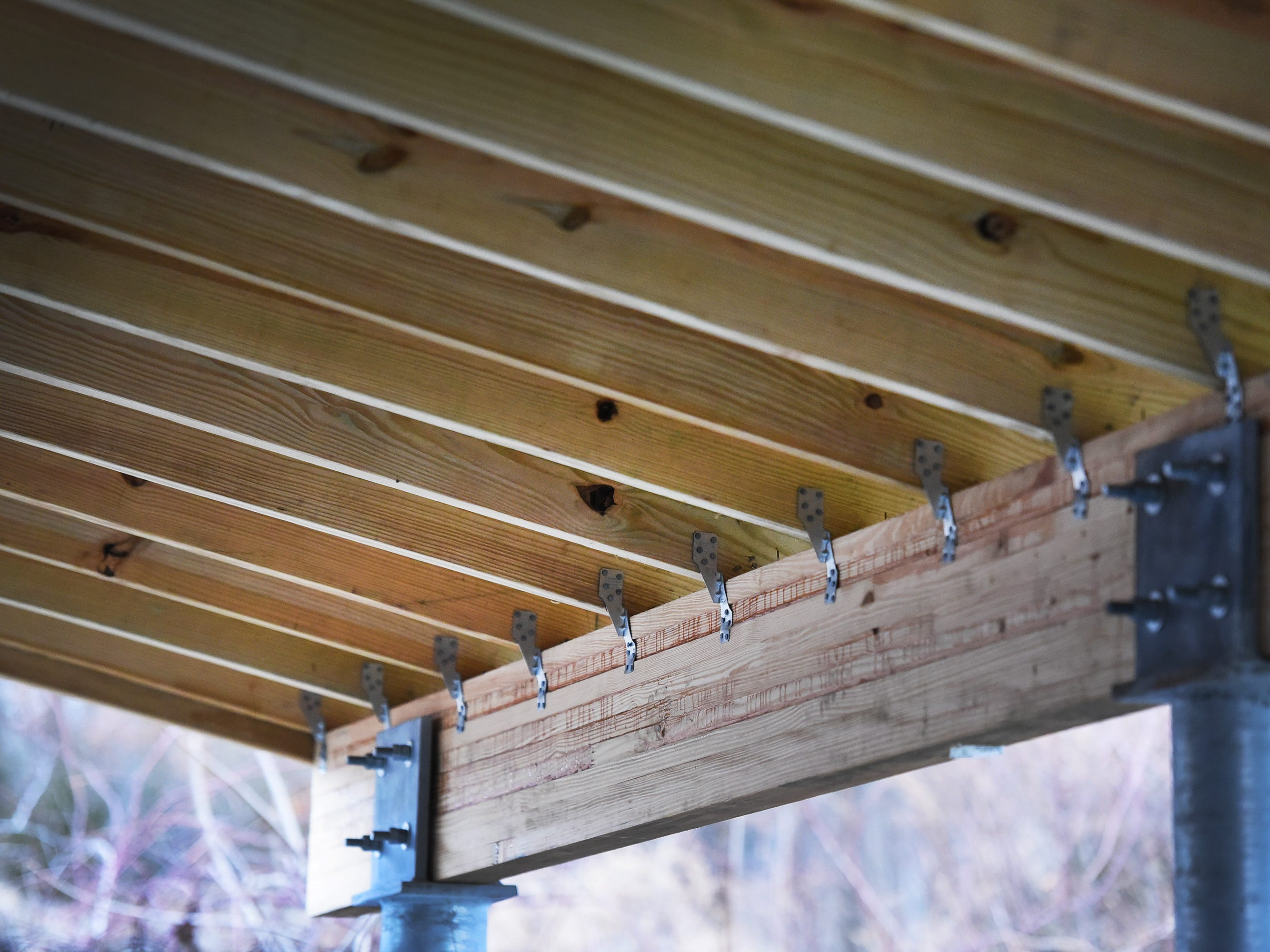 Close up of a new roofed structure over the outdoor kennels, which was donated by Ridgewood Eagle Scout Frank Orlando, at Ramapo-Bergen Animal Refuge in Oakland on 01/10/19.