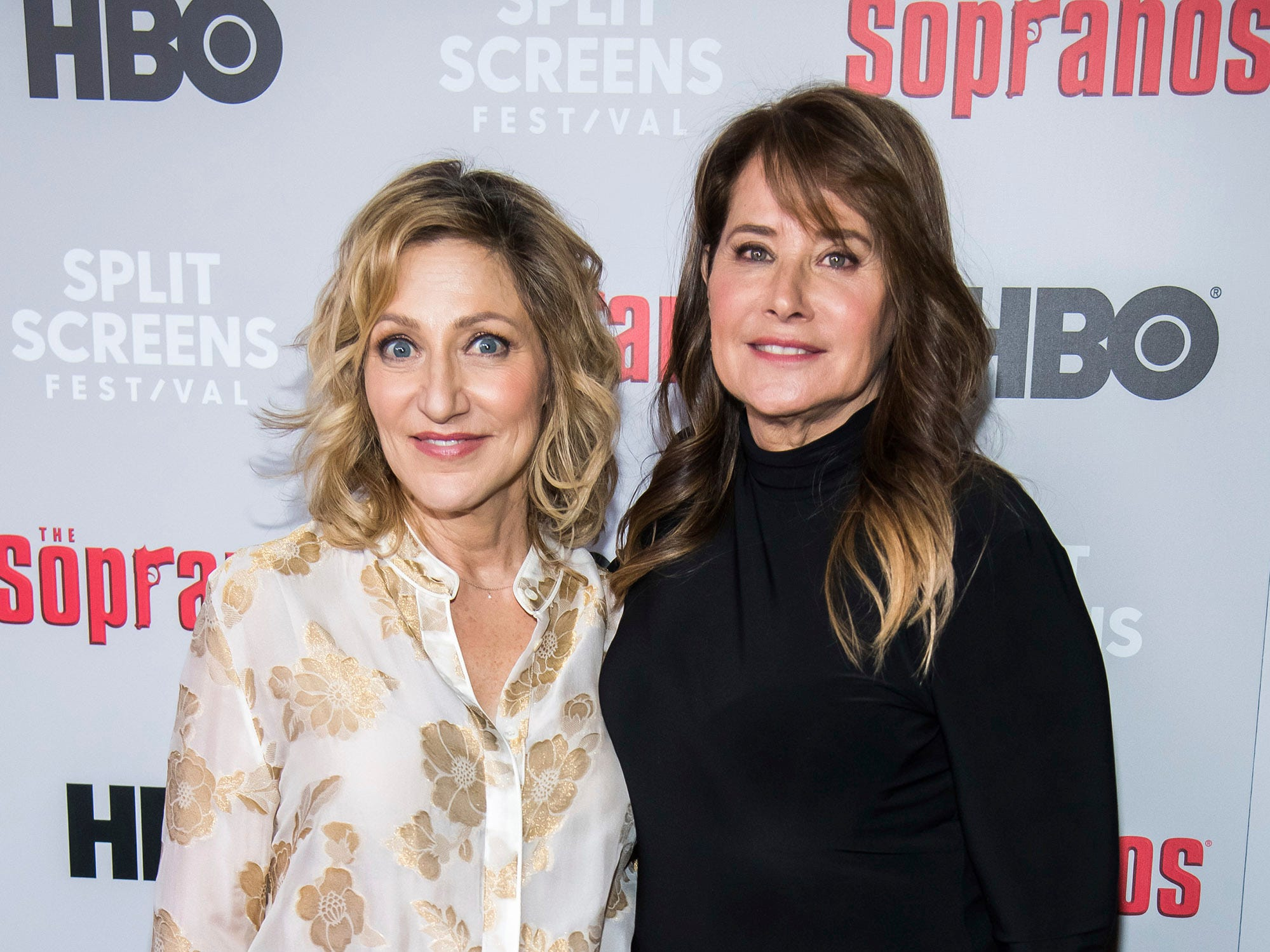 "Edie Falco, left, and Lorraine Bracco attend HBO's ""The Sopranos"" 20th anniversary at the SVA Theatre on Wednesday, Jan. 9, 2019, in New York. (Photo by Charles Sykes/Invision/AP)"