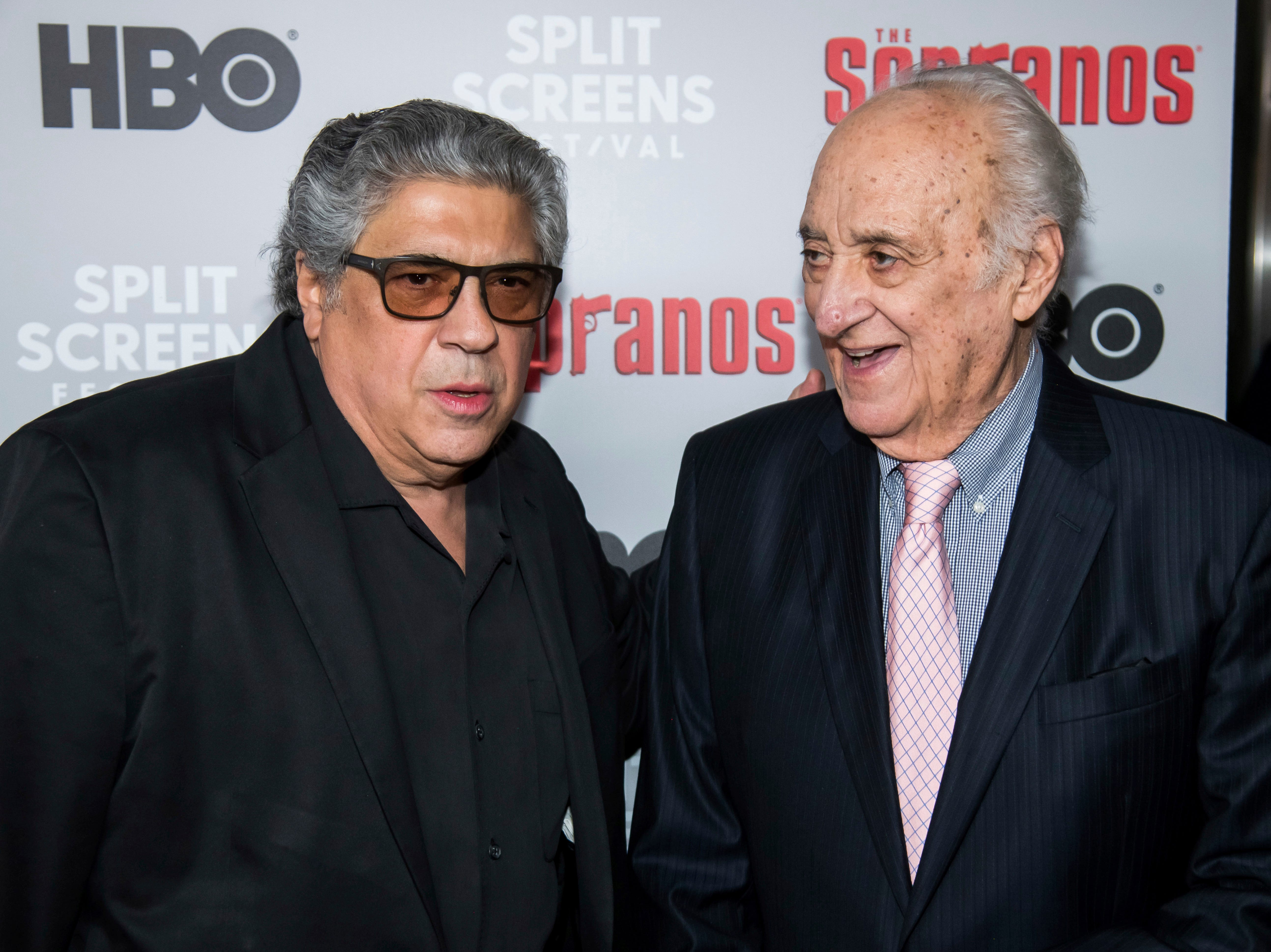 """Vincent Pastore, left, and Jerry Adler attends HBO's """"The Sopranos"""" 20th anniversary at the SVA Theatre on Wednesday, Jan. 9, 2019, in New York. (Photo by Charles Sykes/Invision/AP)"""