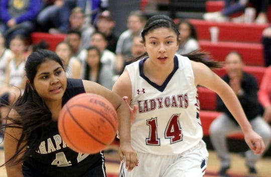 Senior Lady 'Cat Adriana Giron (14) is among the scoring leaders for the Deming High varsity girls.