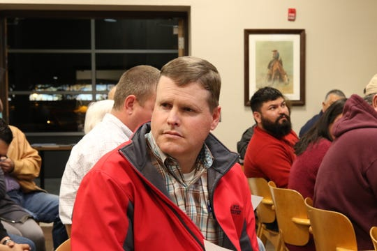 Wesley Hooper, Eddy County community services director, listens during a community meeting on the City of Carlsbad's Comprehensive Plan.