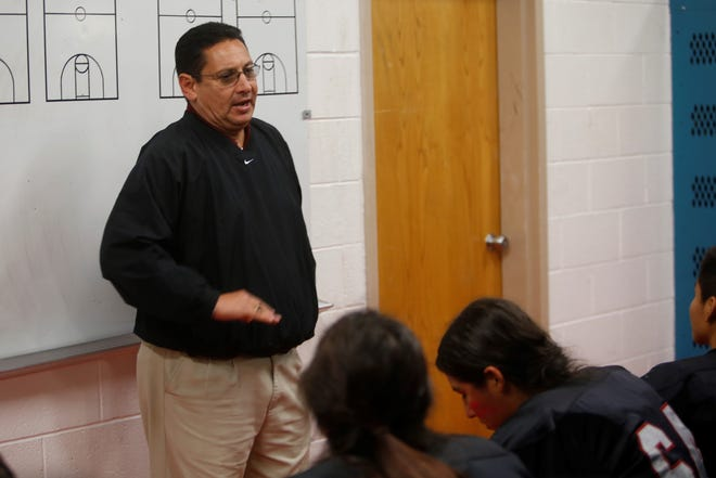 Shiprock football coach Michael Switch addresses his players on Oct. 12. He went 2-8 in his only season with the Chieftains.