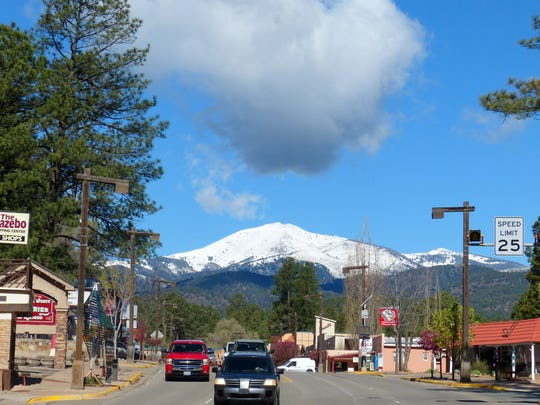 Sierra Blanca Peak dominates the landscape for shoppers in midtown Ruidoso.